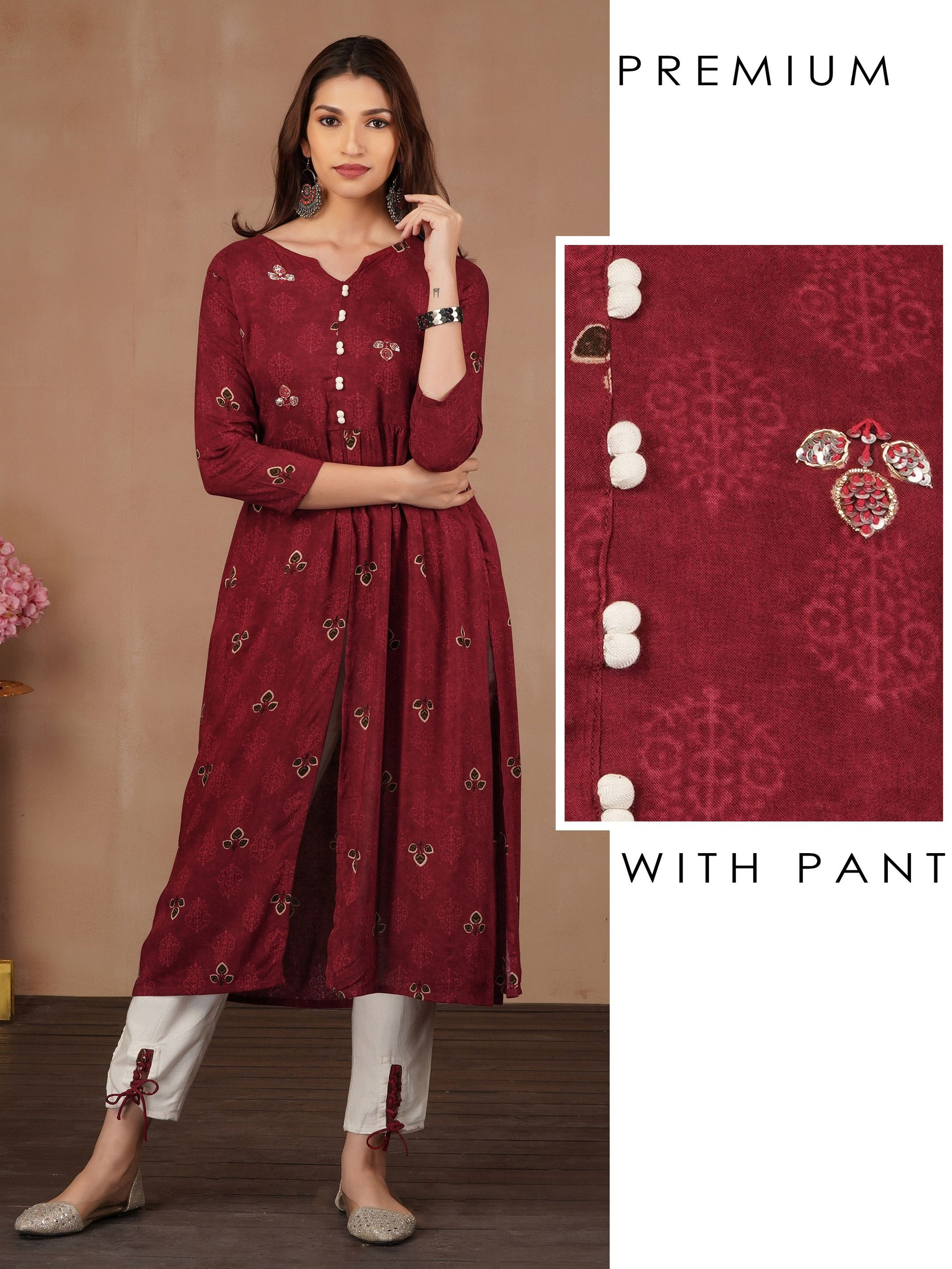 Sequins Gathered Kurti & Tie-Up Ankle Pant Set