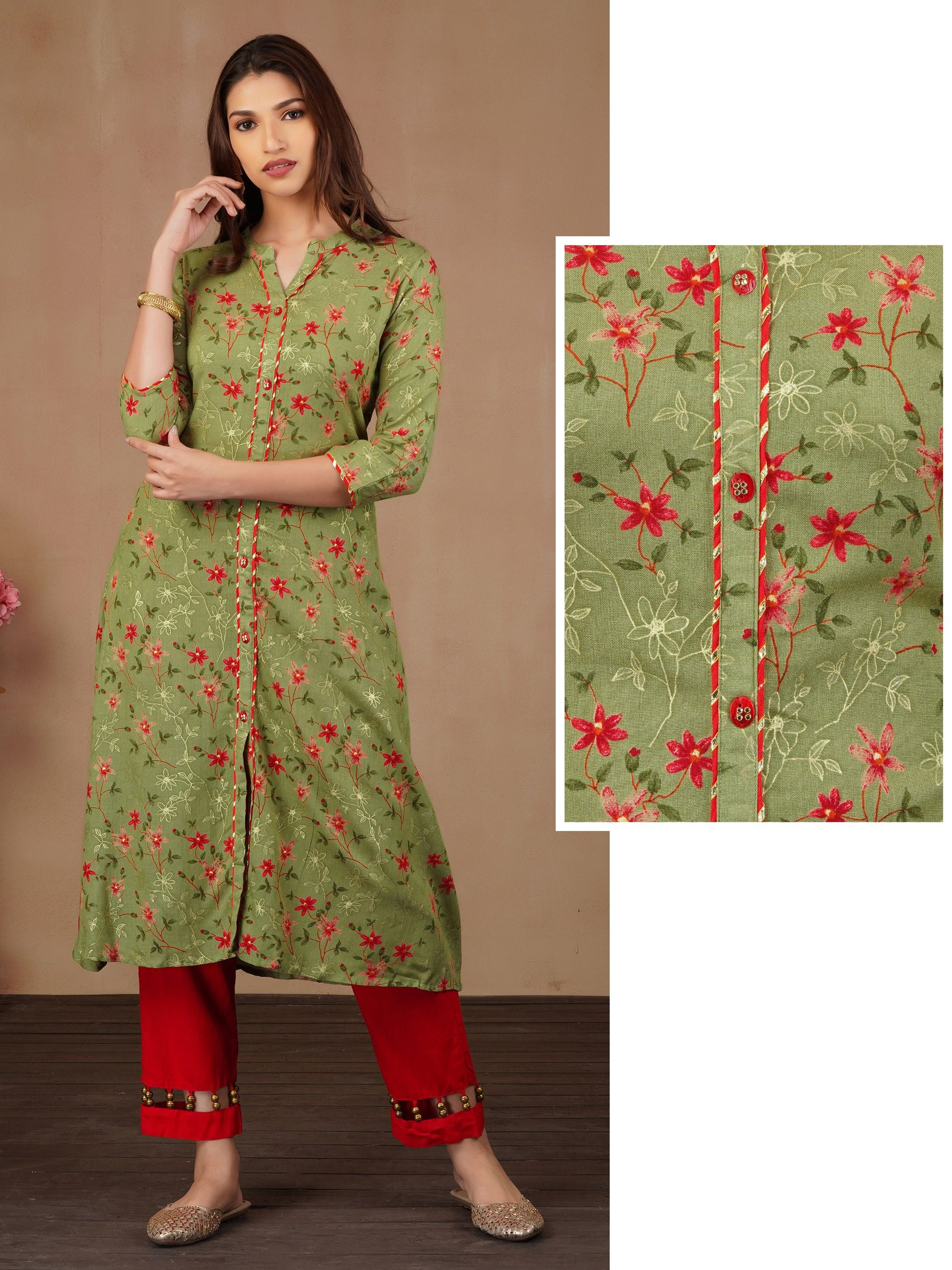 Gold Floral Printed A-line Kurta