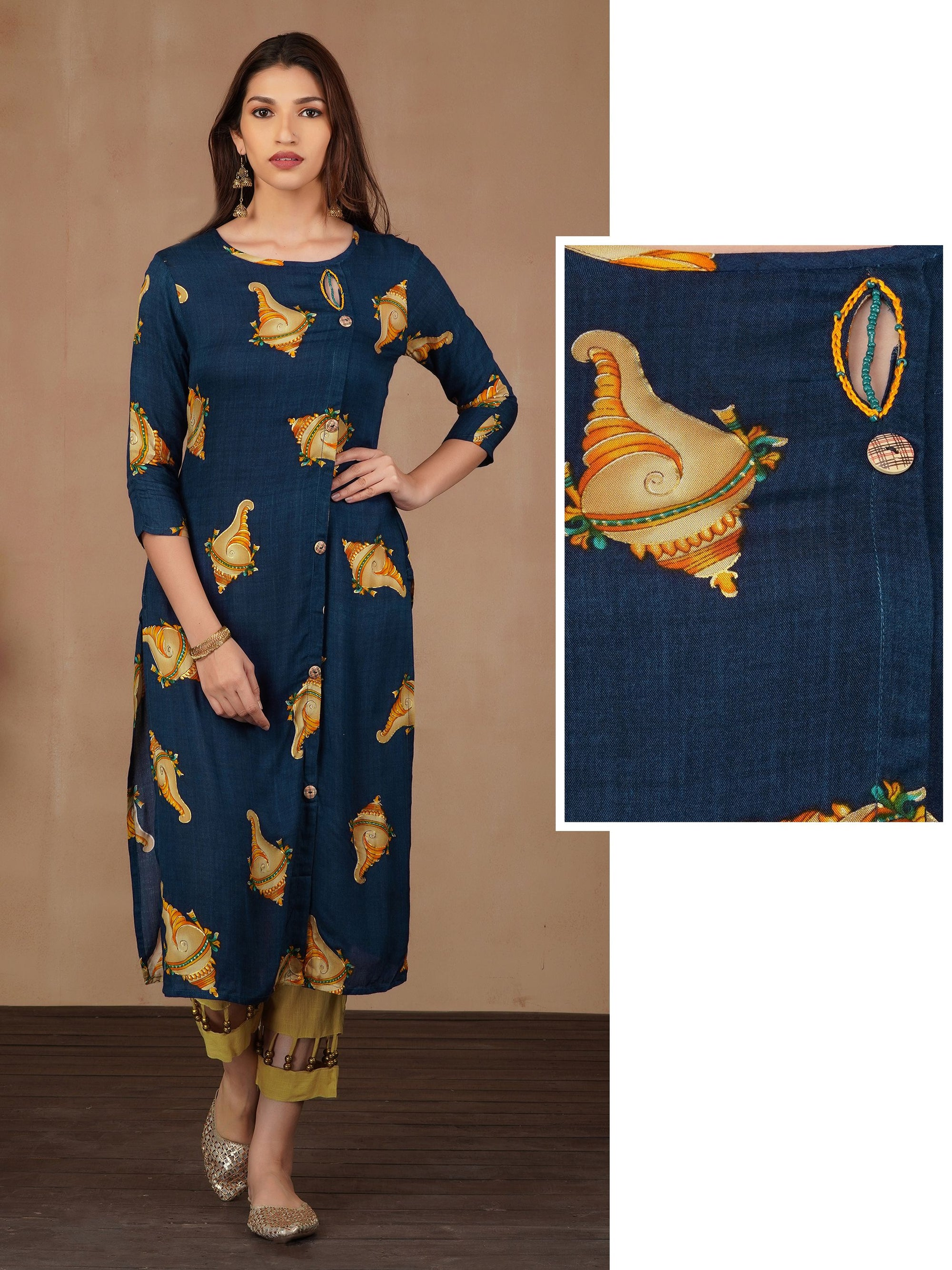 Conch Shell Printed & Bead work Kurti – Navy Blue