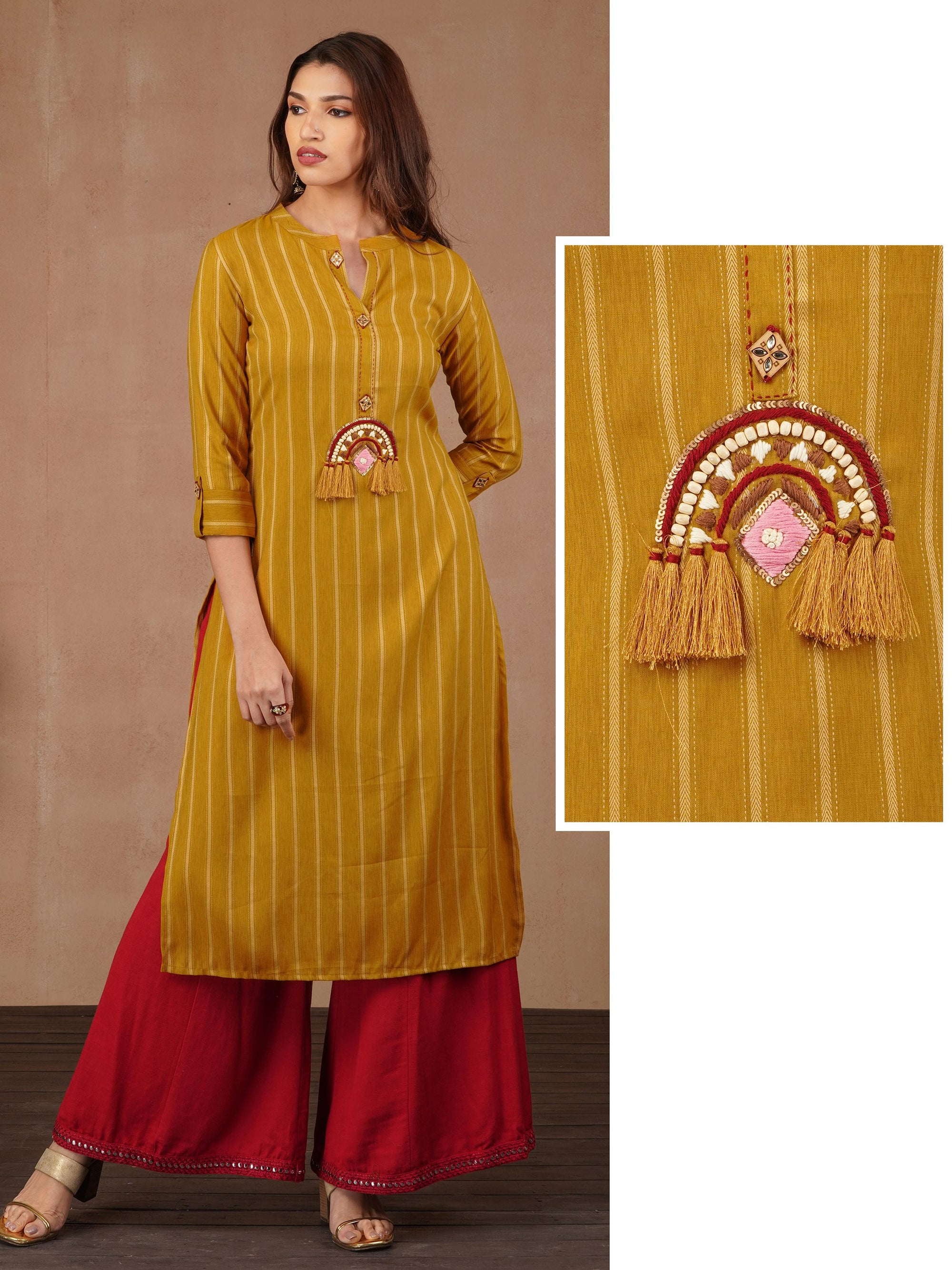 Chevron Stripes With Beads, Sequins & Tassels Kurta - Mustard