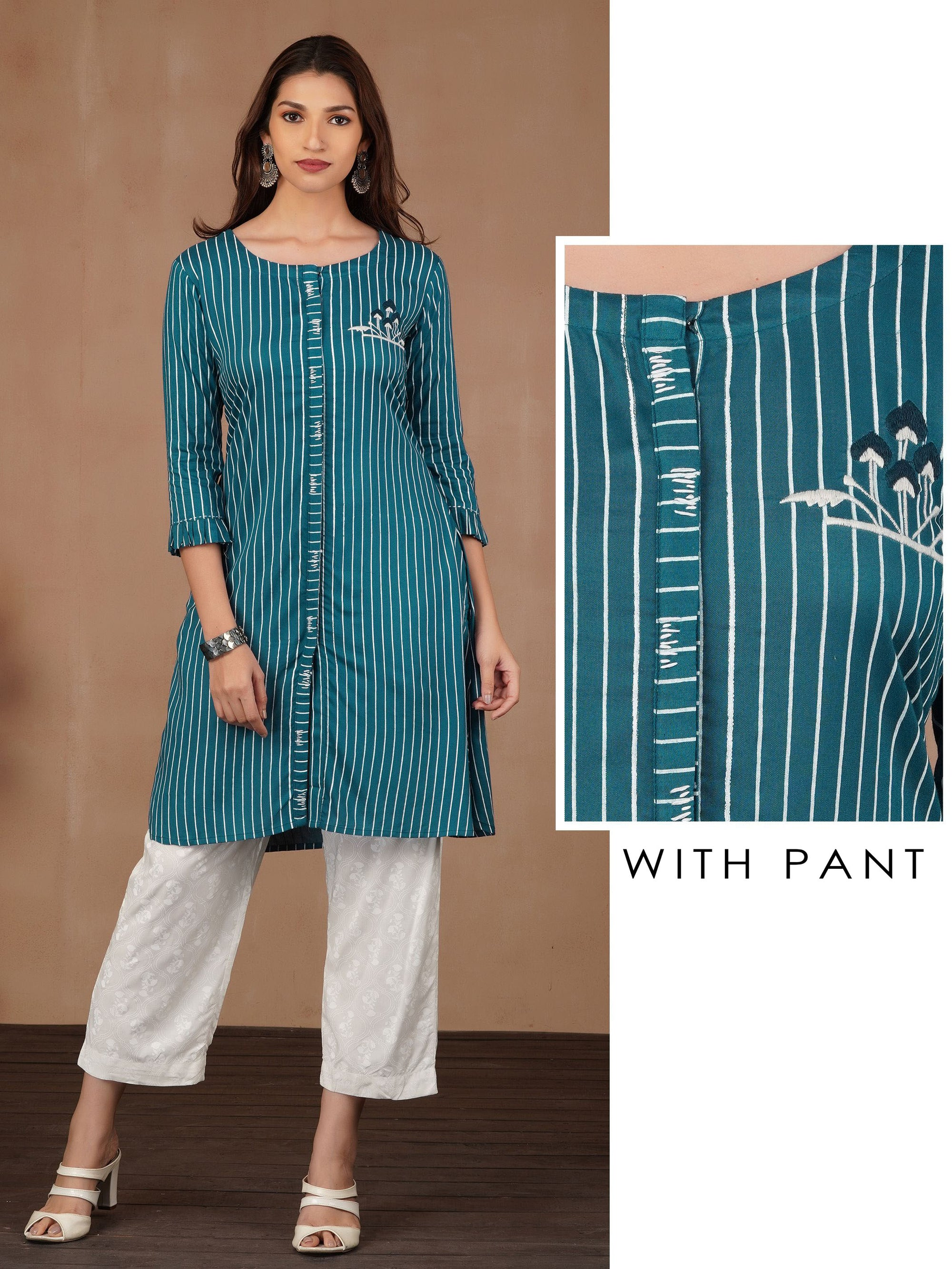 Pencil Stripes Kurta With Floral Printed Pant
