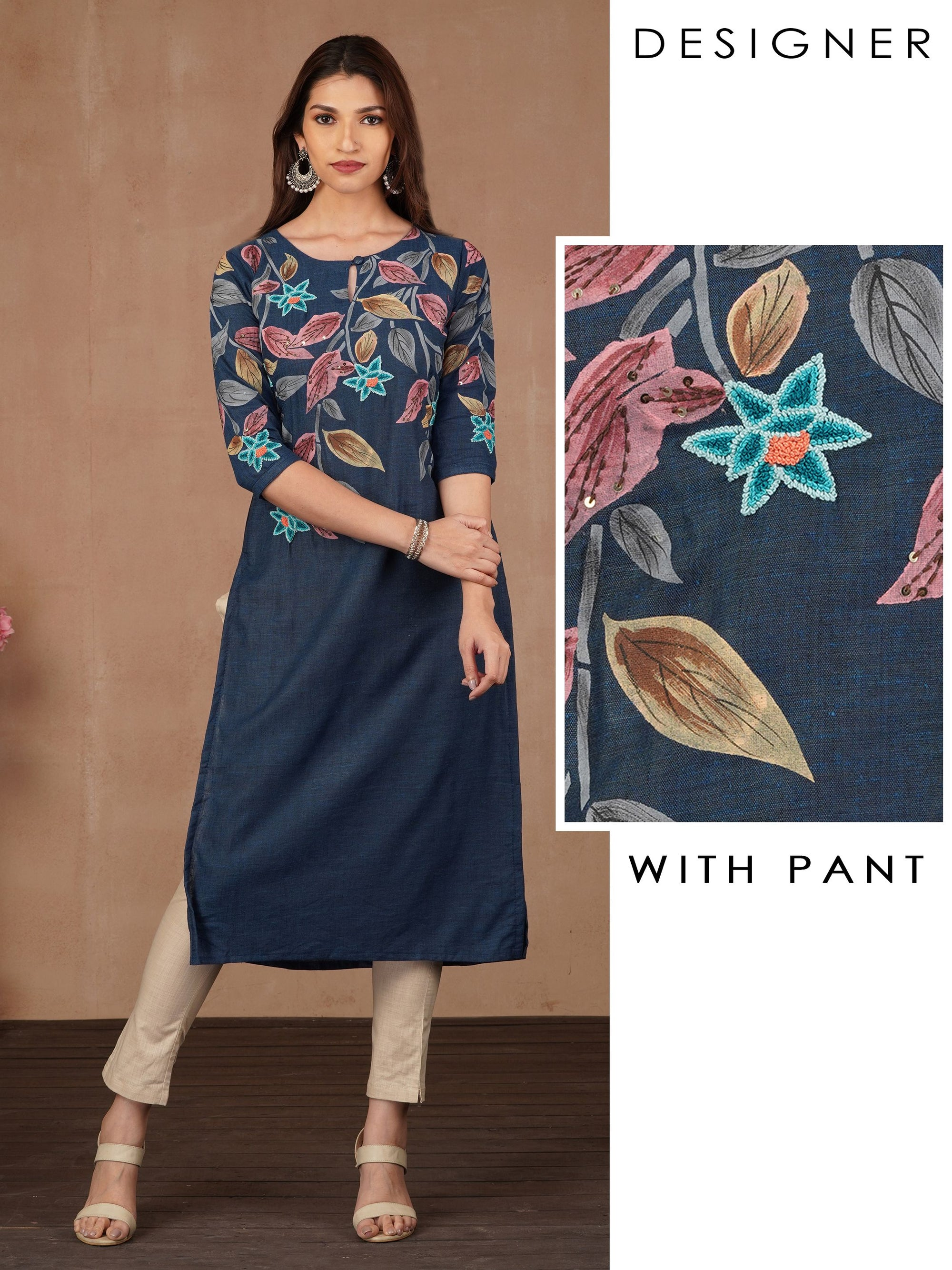 French Knot Floral Embroidered Kurti & Pant Set