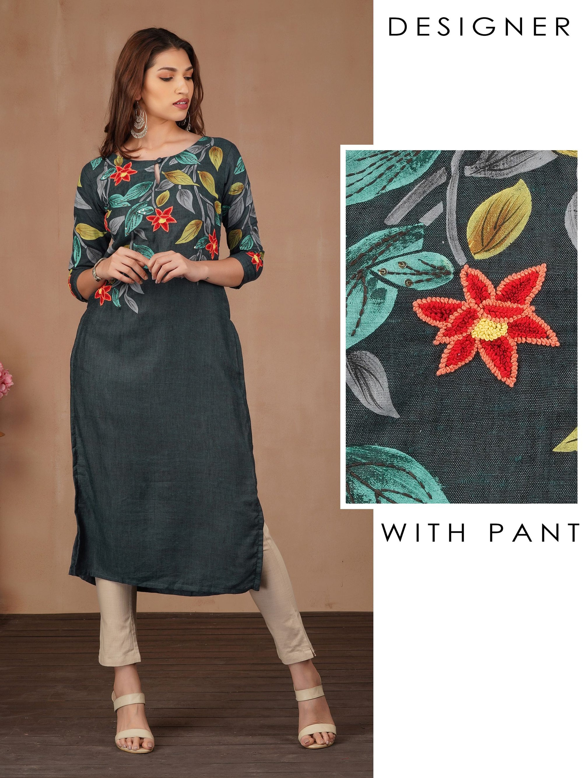 French Knot Floral Embroidered Kurti & Pant Set - Livid Grey
