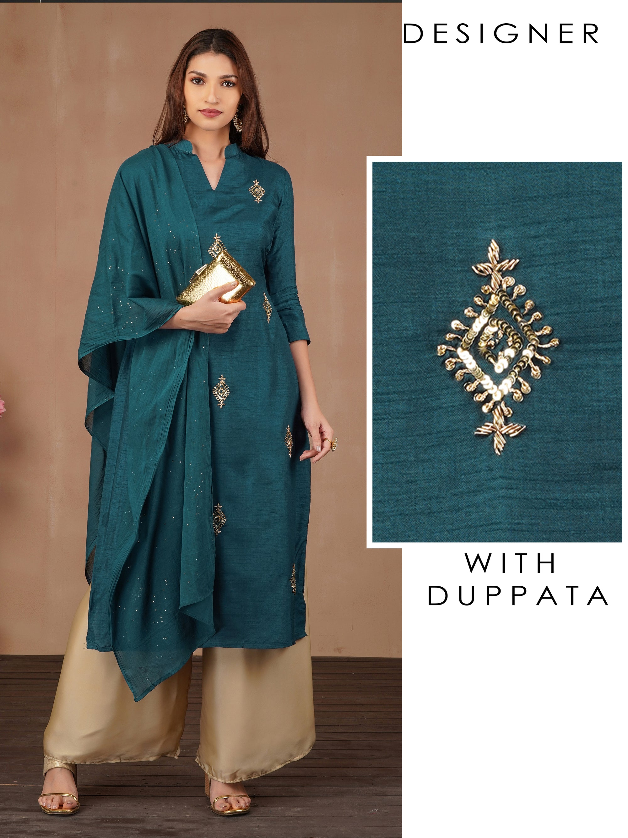 Zardosi & Sequins Embellished Kurti with Shimmer Dupatta - Teal Blue