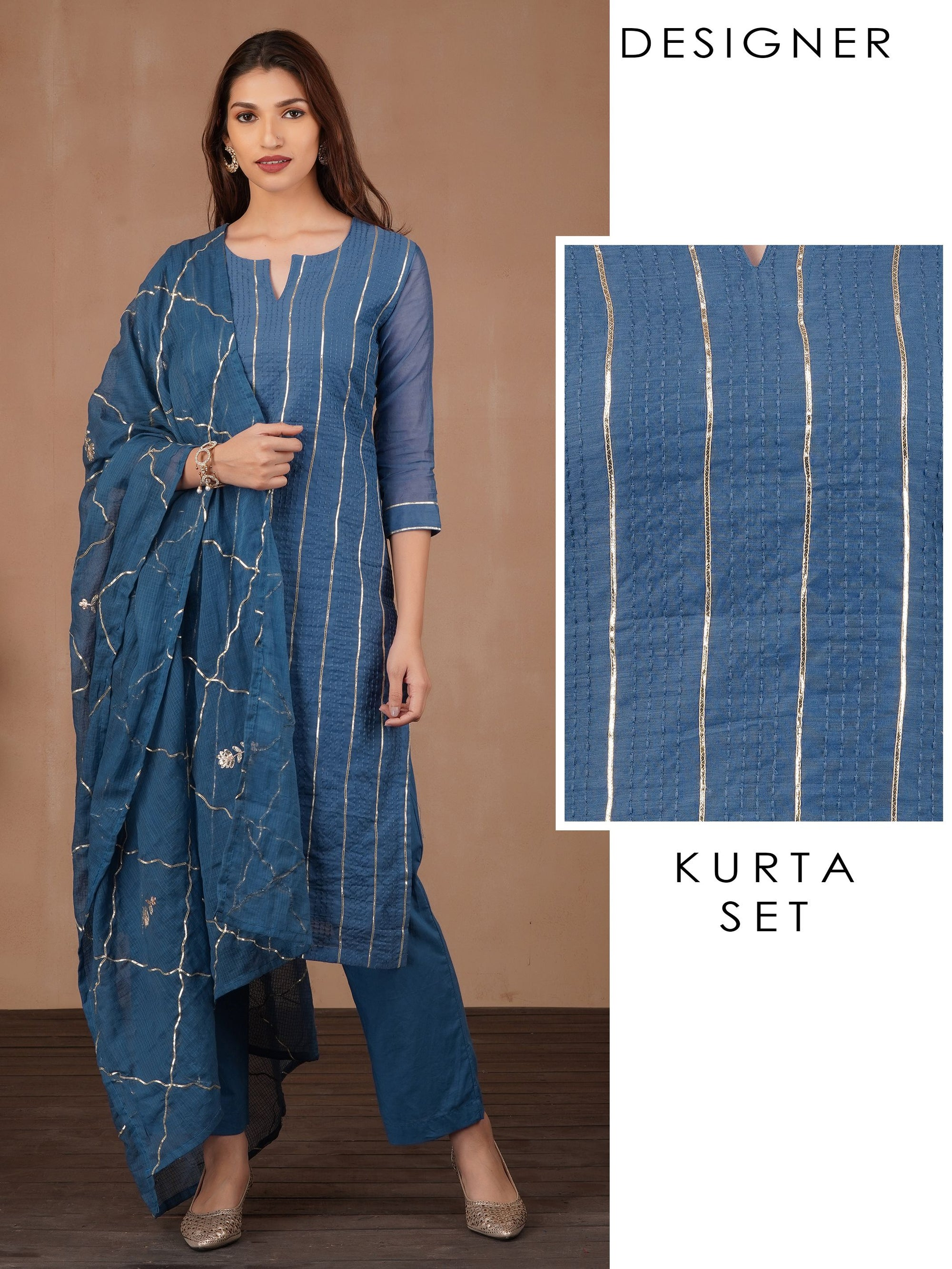Running Stitch Design With Gota Lace Kurta, Floral Gota Dupatta & Pant – Blue