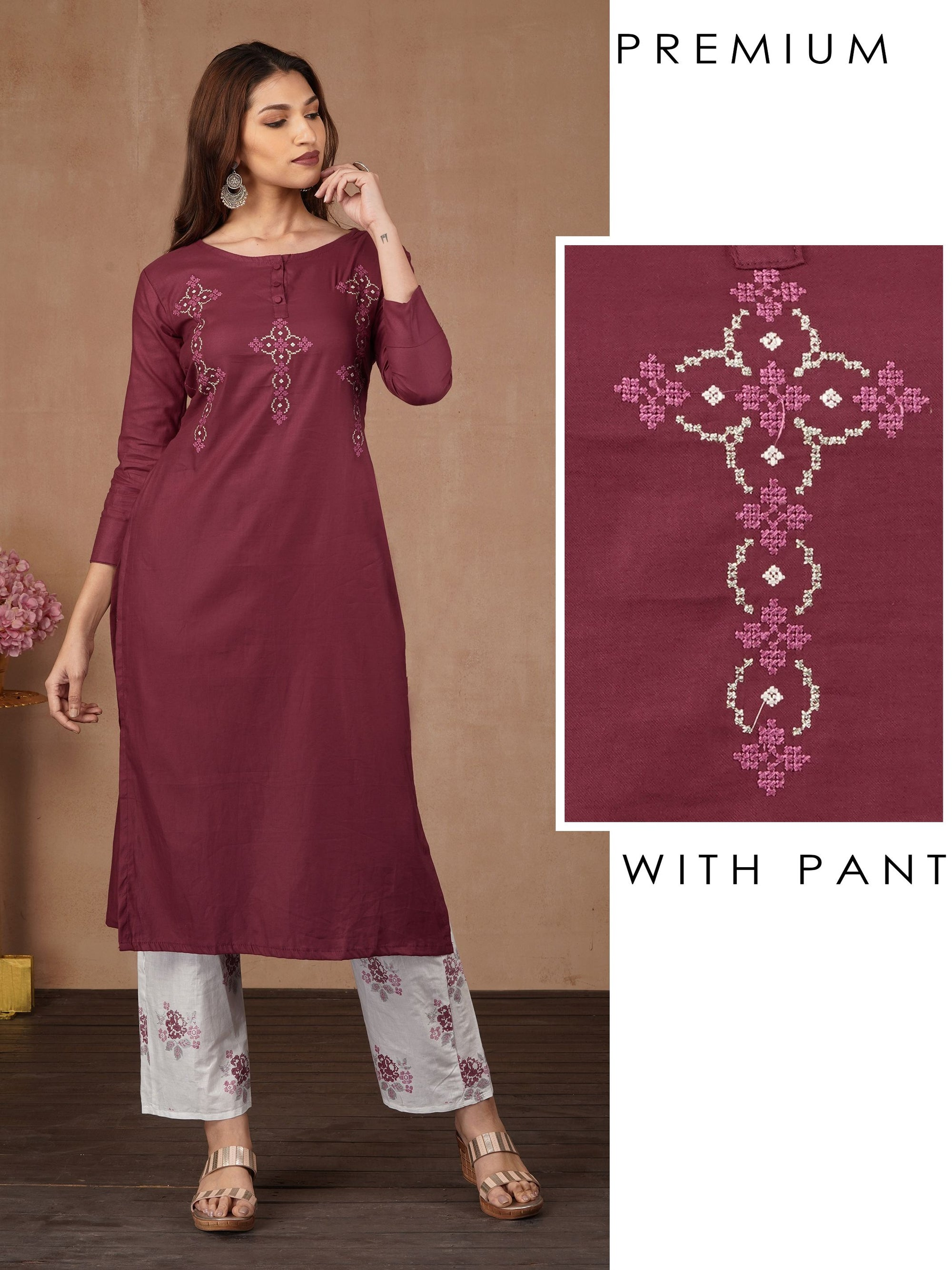 Cross Stitch Embroidered Kurti & Printed Pant Set