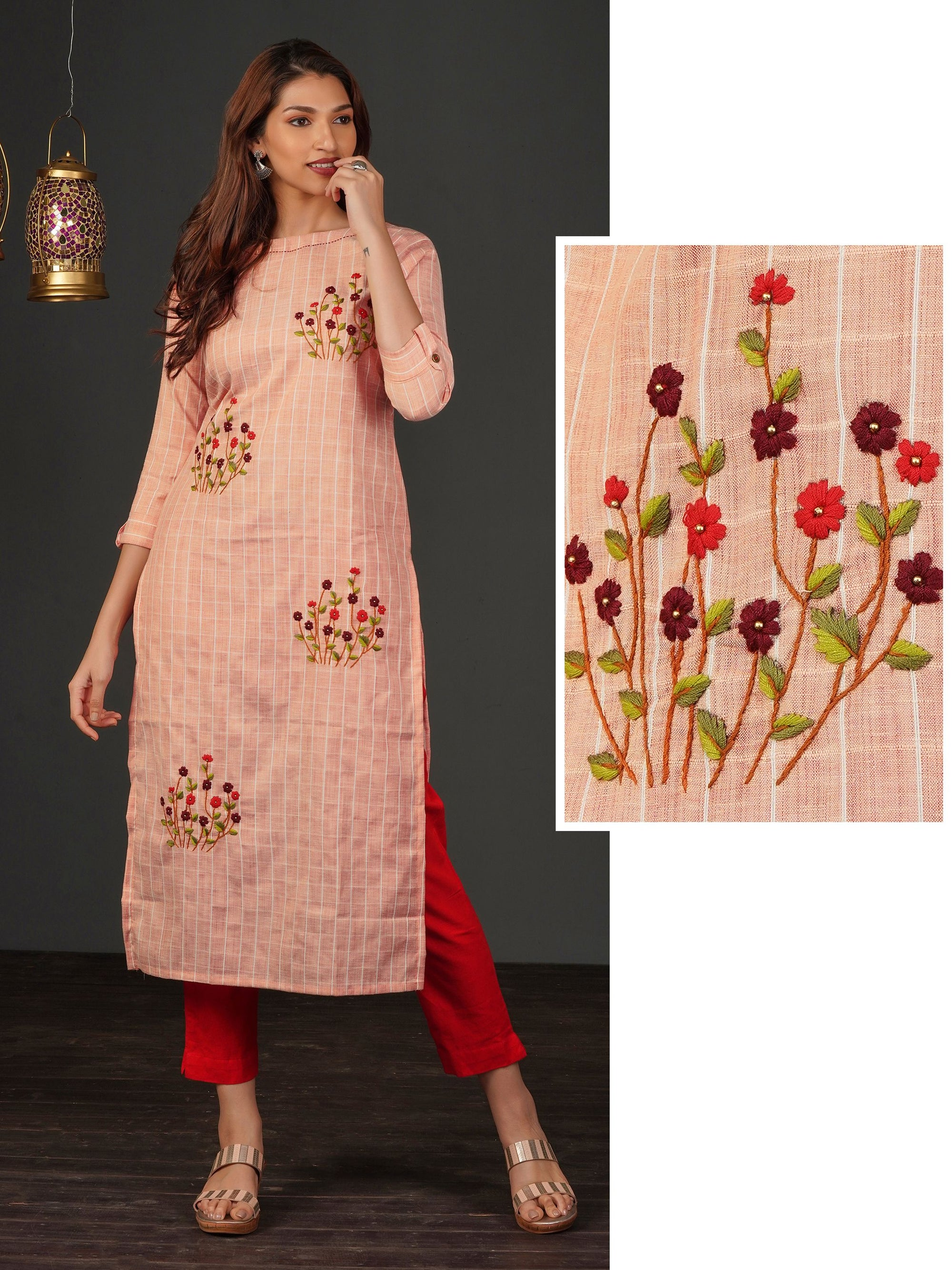 Elegant Floral Embroidered & Pin Striped Kurti