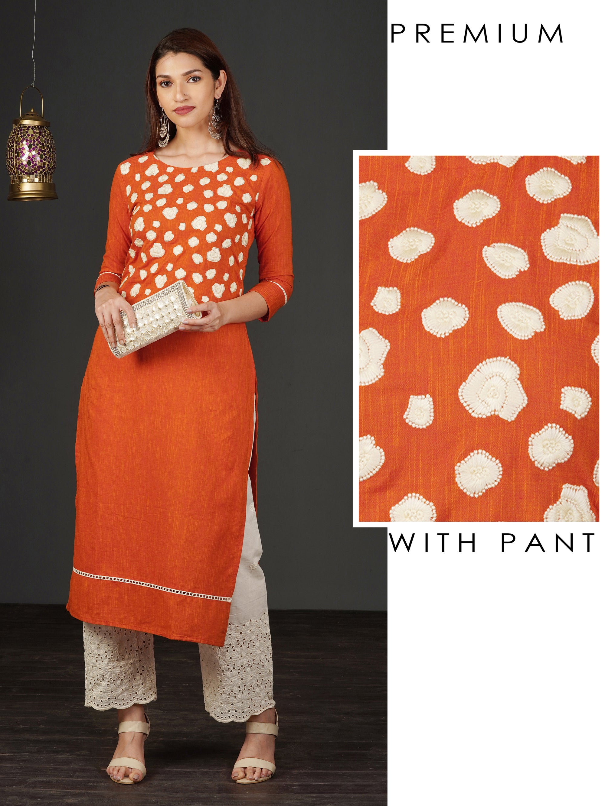 Abstract Floral Embroidered Kurti & Schiffli Embroidered Pant Set - Orange