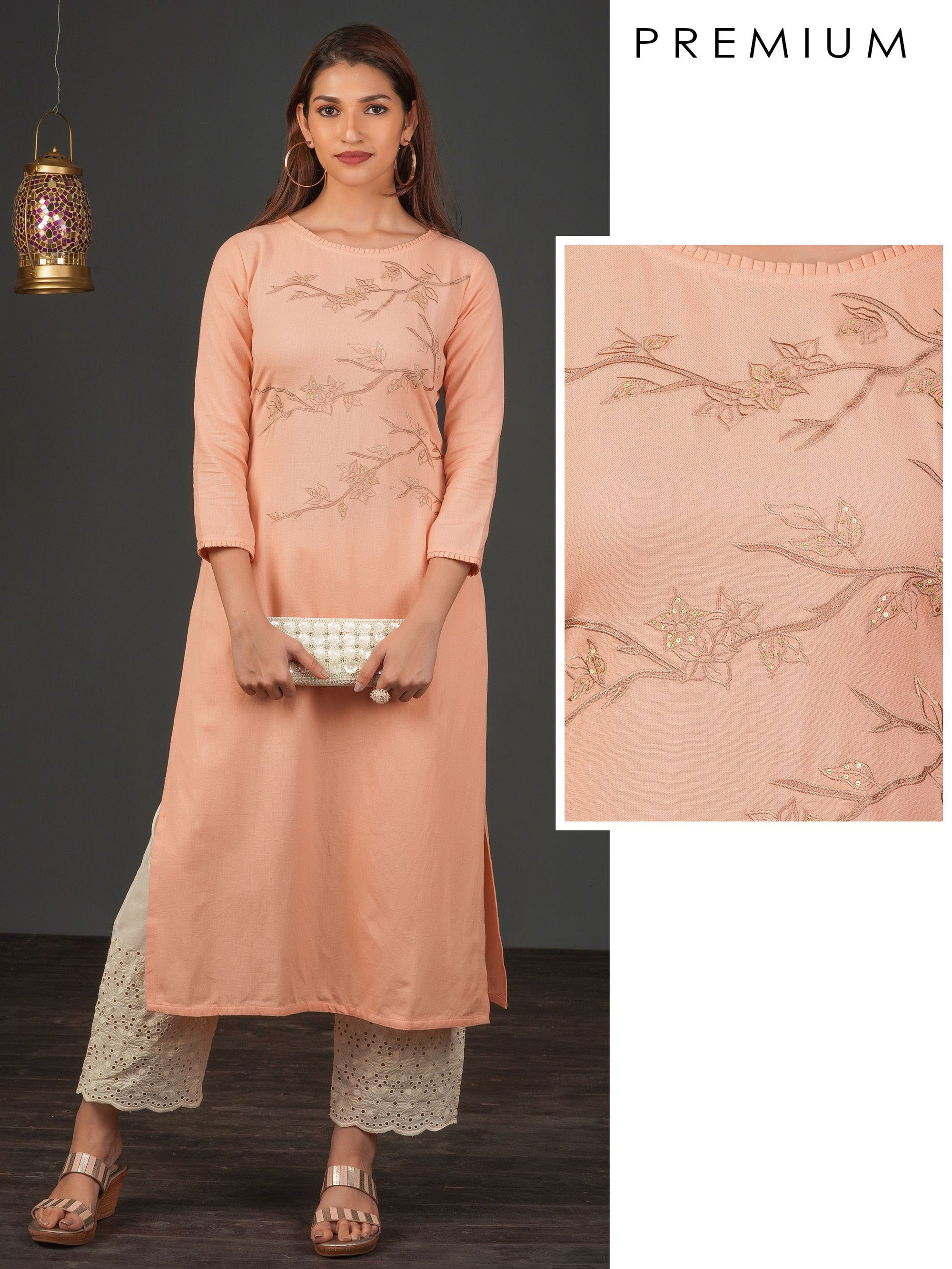 Elegant Floral Embroidered Cotton Kurti – Pale Peach