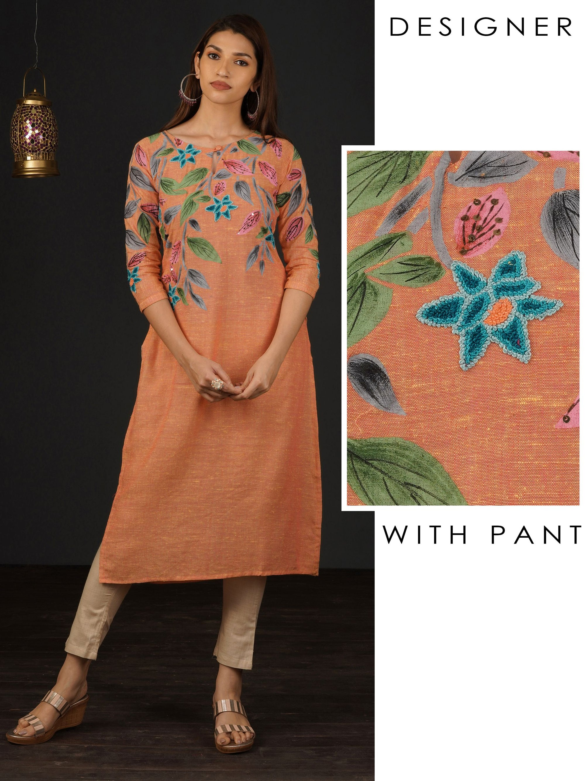 French Knot Floral Embroidered Kurti & Pant Set - Orange
