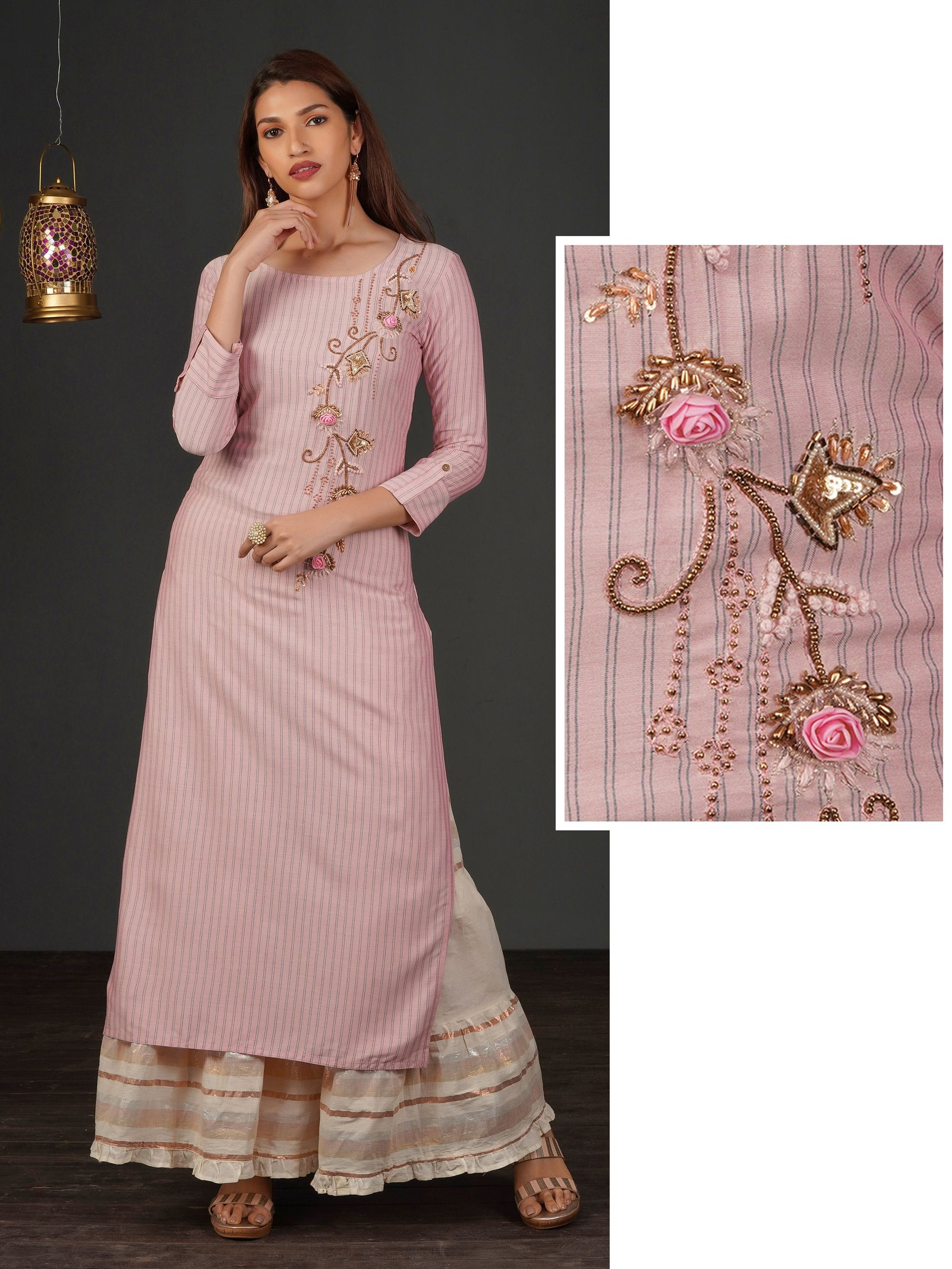 Antique Bead & Embossed Floral Work Kurti – Taffy Pink