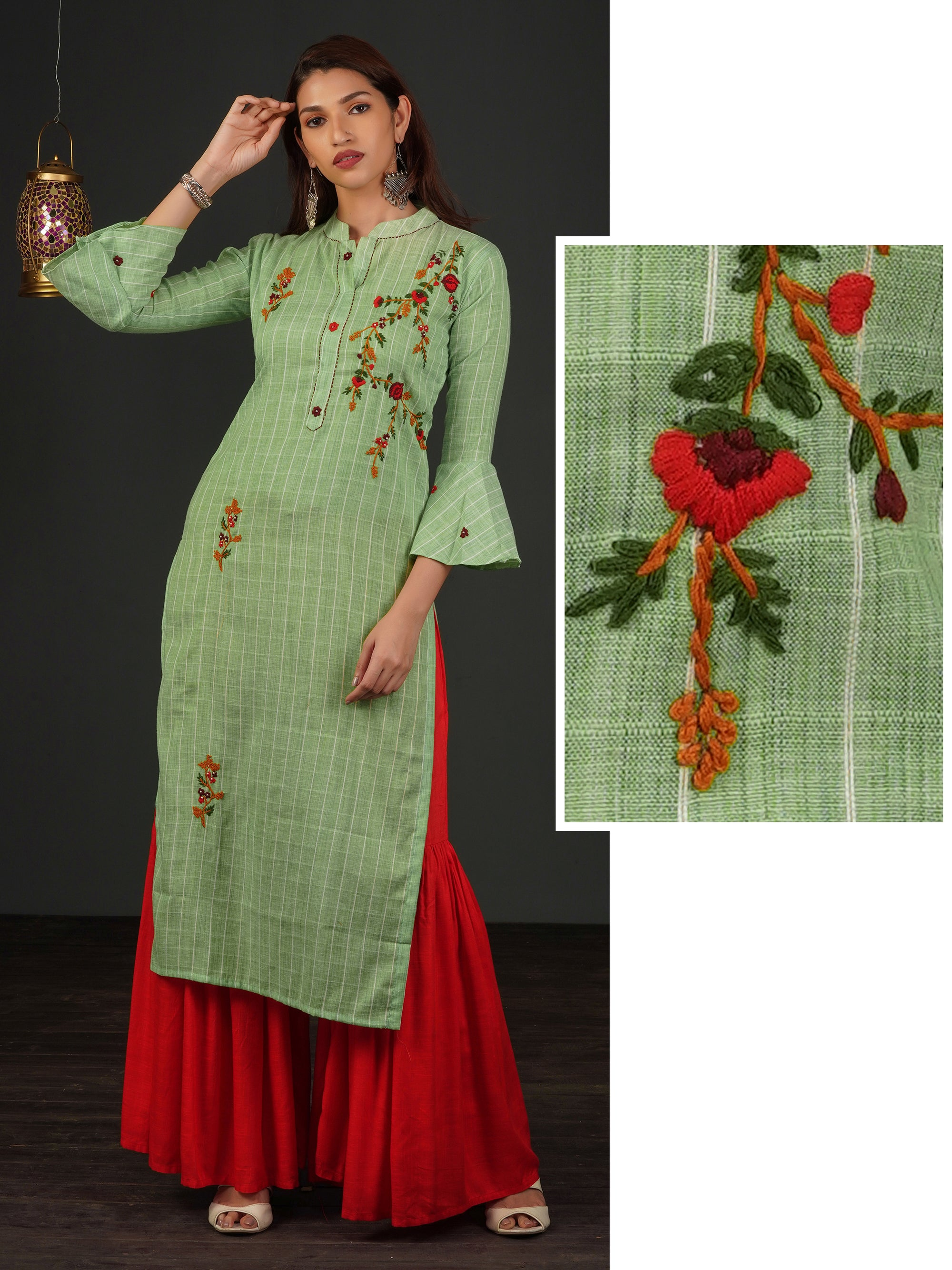 Elegant French Knot & Floral Embroidered Kurti