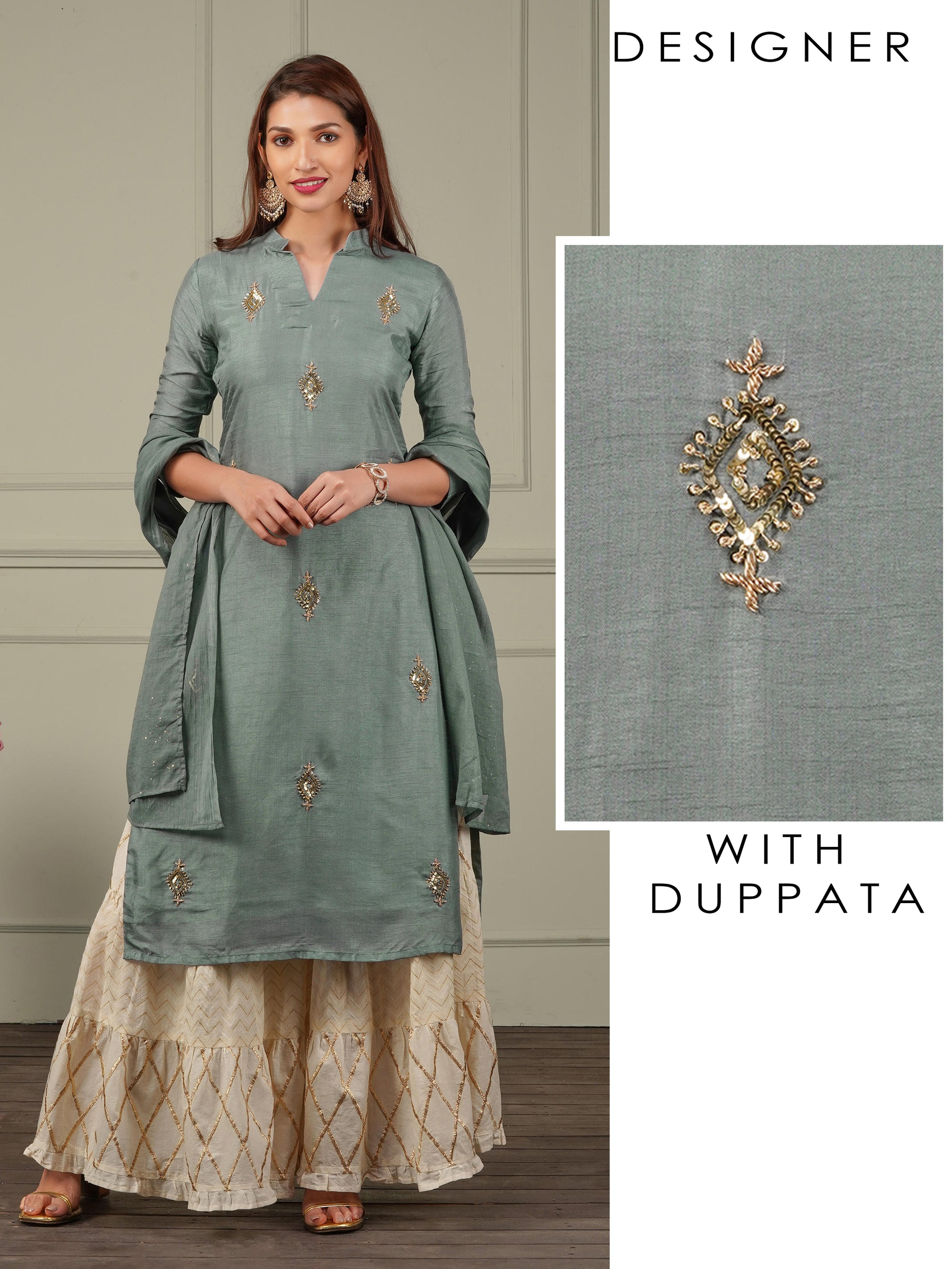 Zardosi & Sequins Embellished Kurti with Shimmer Dupatta - Smokey Grey