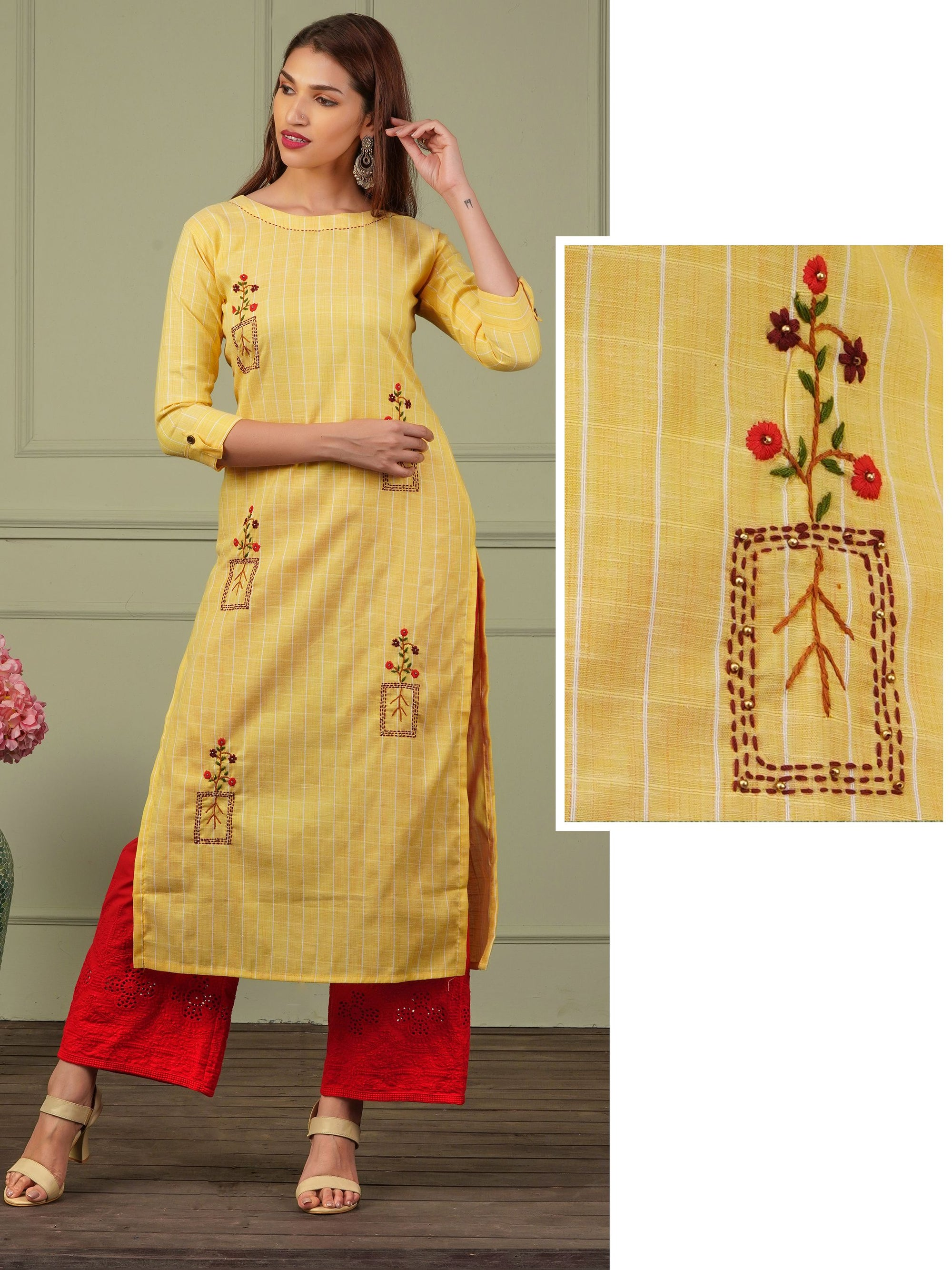 Classic Floral Embroidered & Pin Striped Kurti