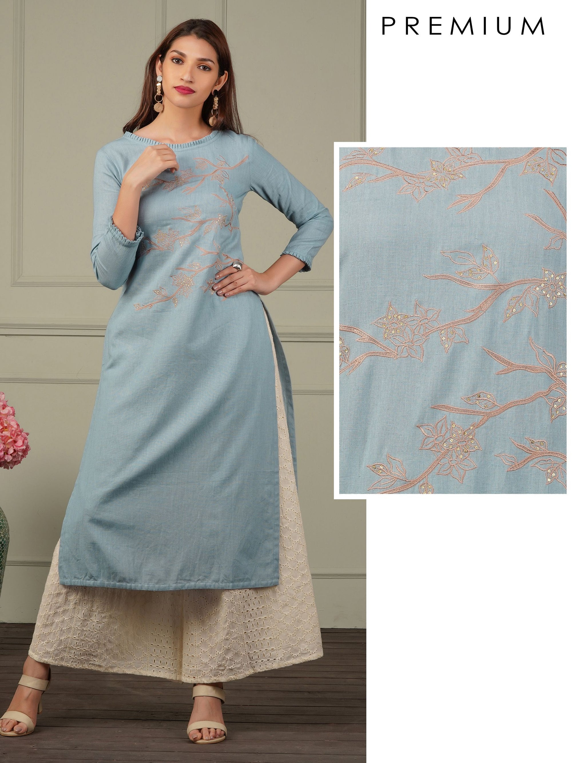 Elegant Floral Embroidered Cotton Kurti -  Powder Blue