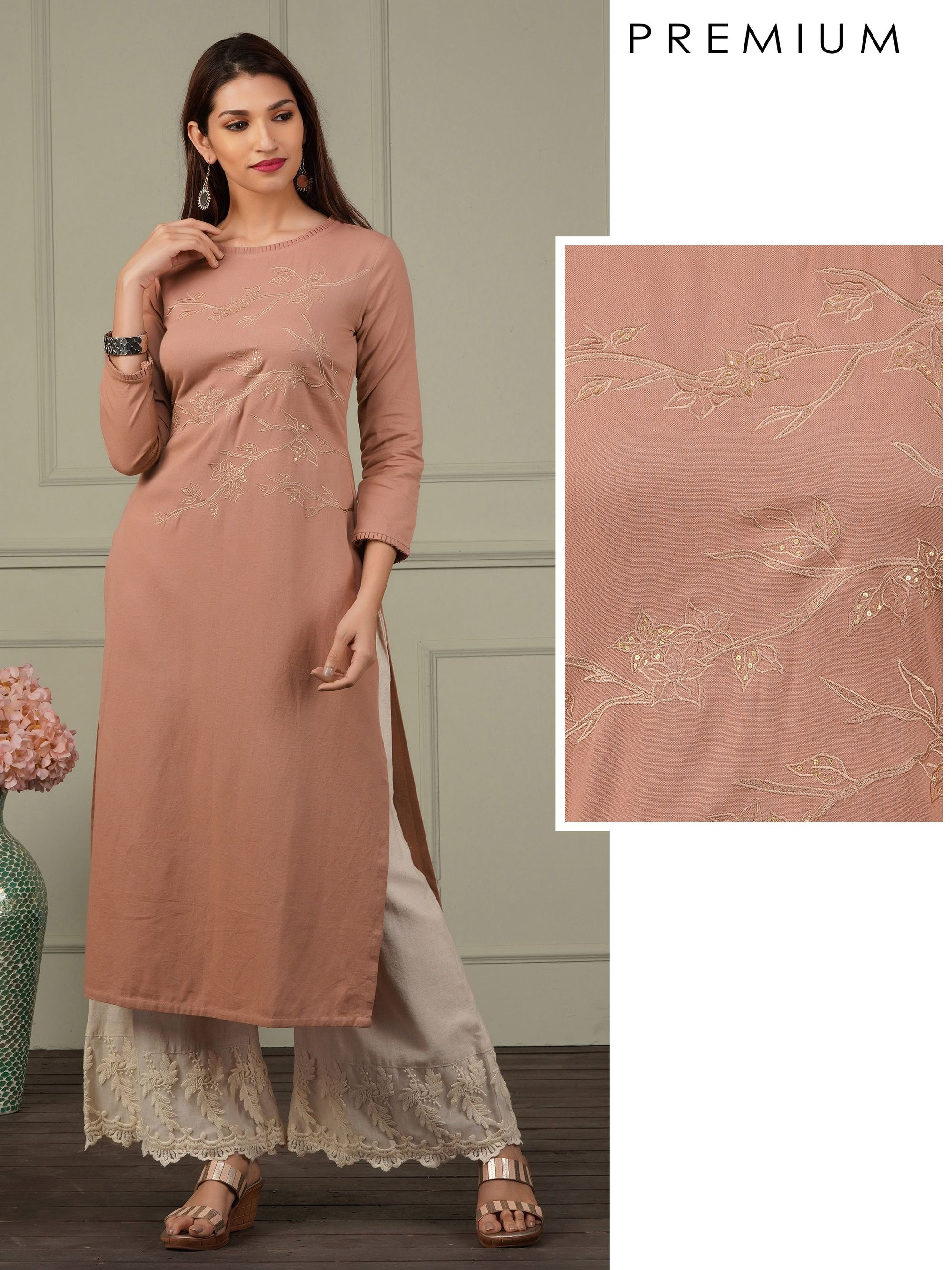 Elegant Floral Embroidered Cotton Kurti - Mauve Pink