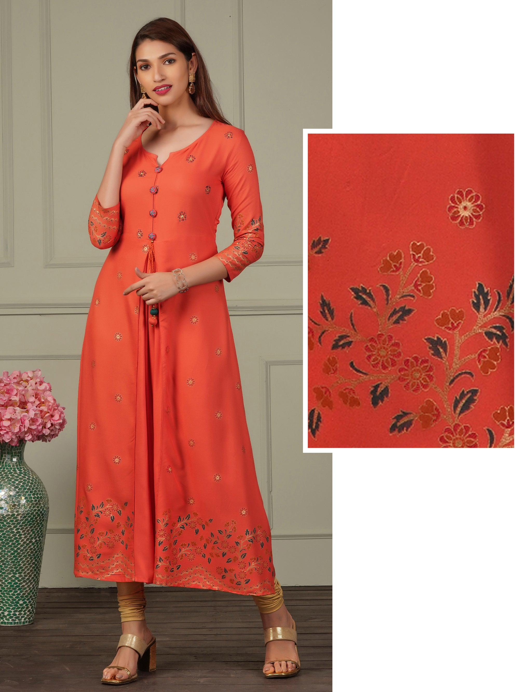 Gold Floral Highlights With Embroidered A-line Kurti