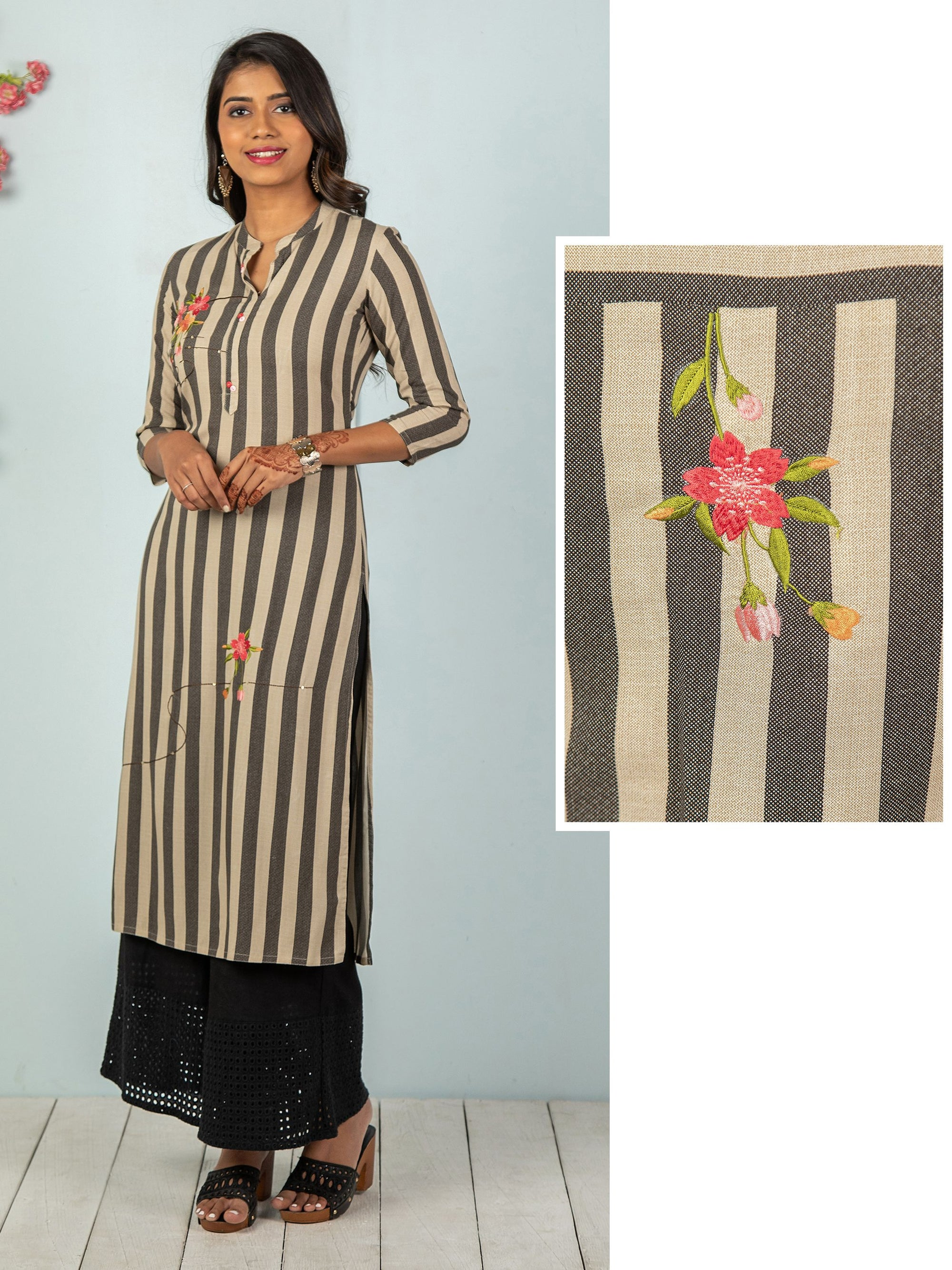 Cabana Stripes With Floral Embroidered Kurta - Black