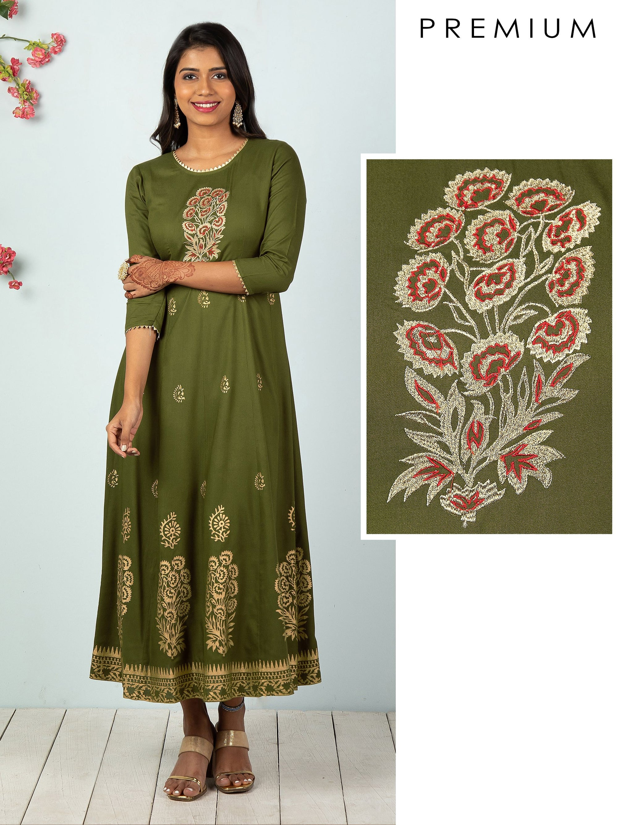 Floral Zari Embroidered Work With Khari Floral Print Paneled Maxi