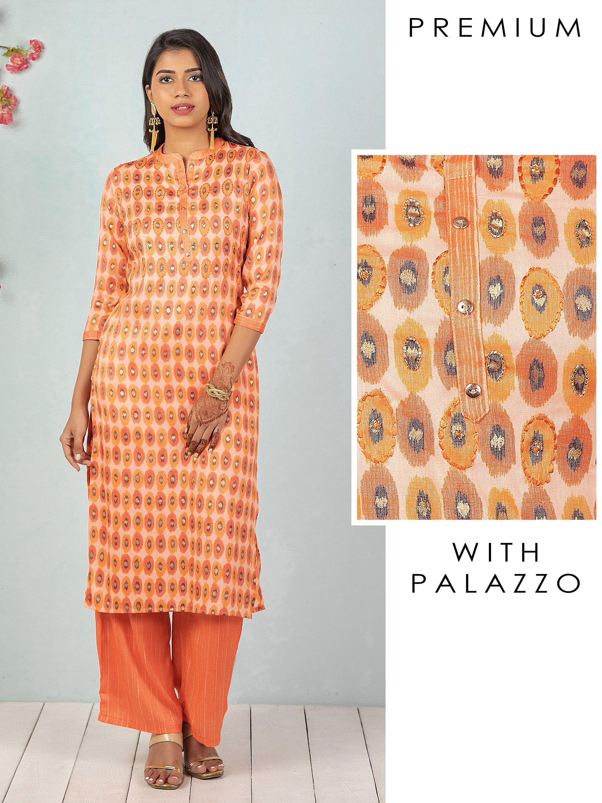 Cutdana Detailed & Printed Kurti with Vertical Striped Palazzo Set