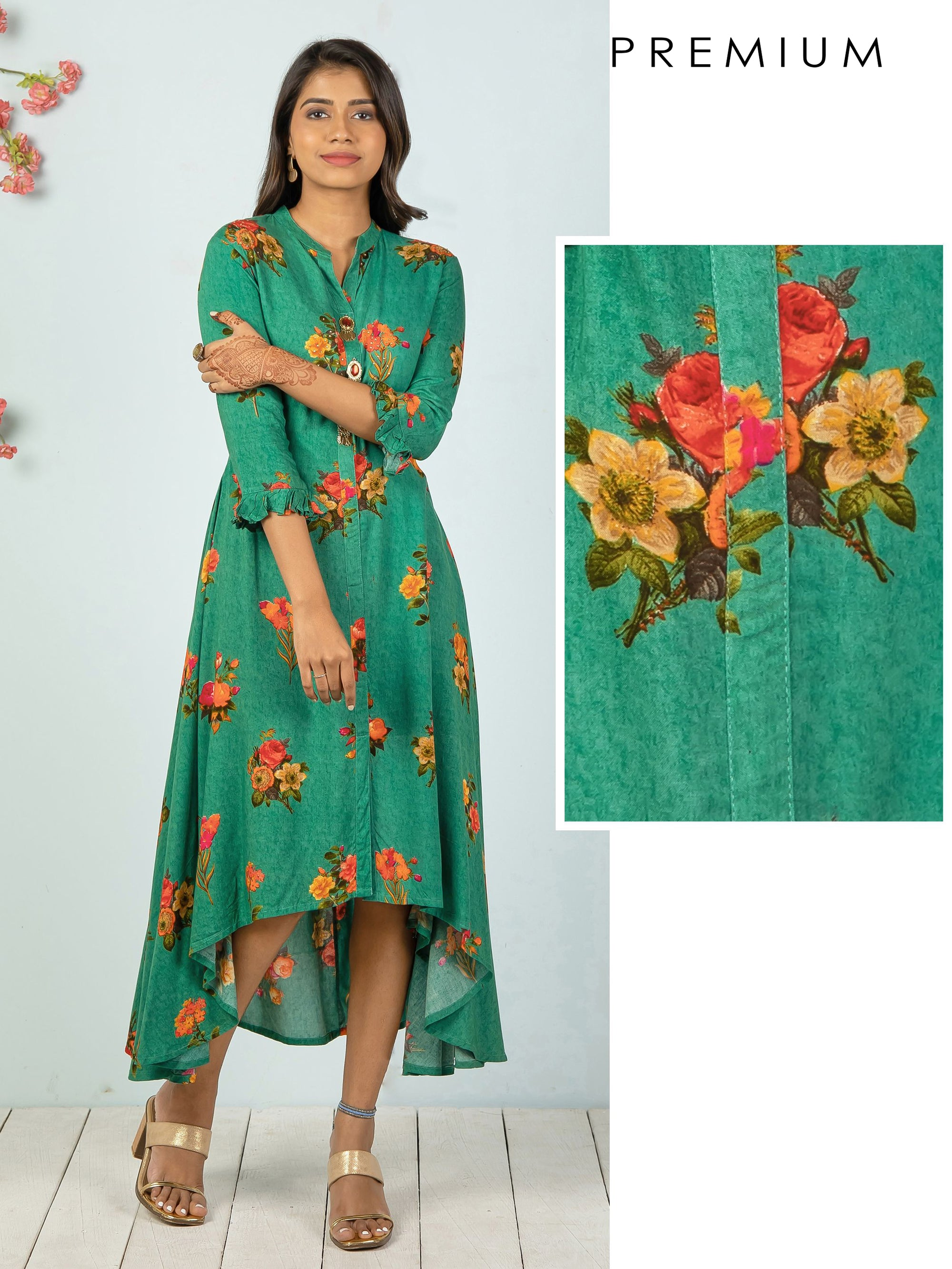 Asymmetric Floral Printed & Metal Brooch Detailed Kurti