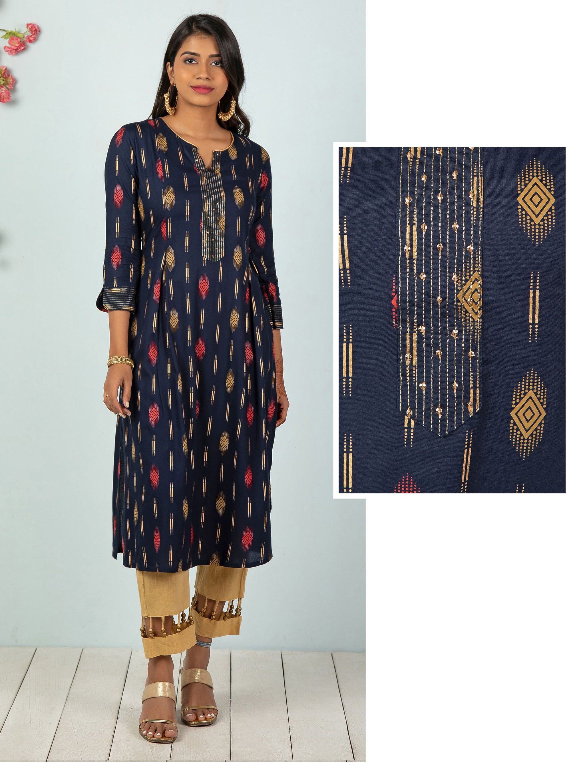 Gold Highlights With Geometric Printed Kurta - Navy Blue
