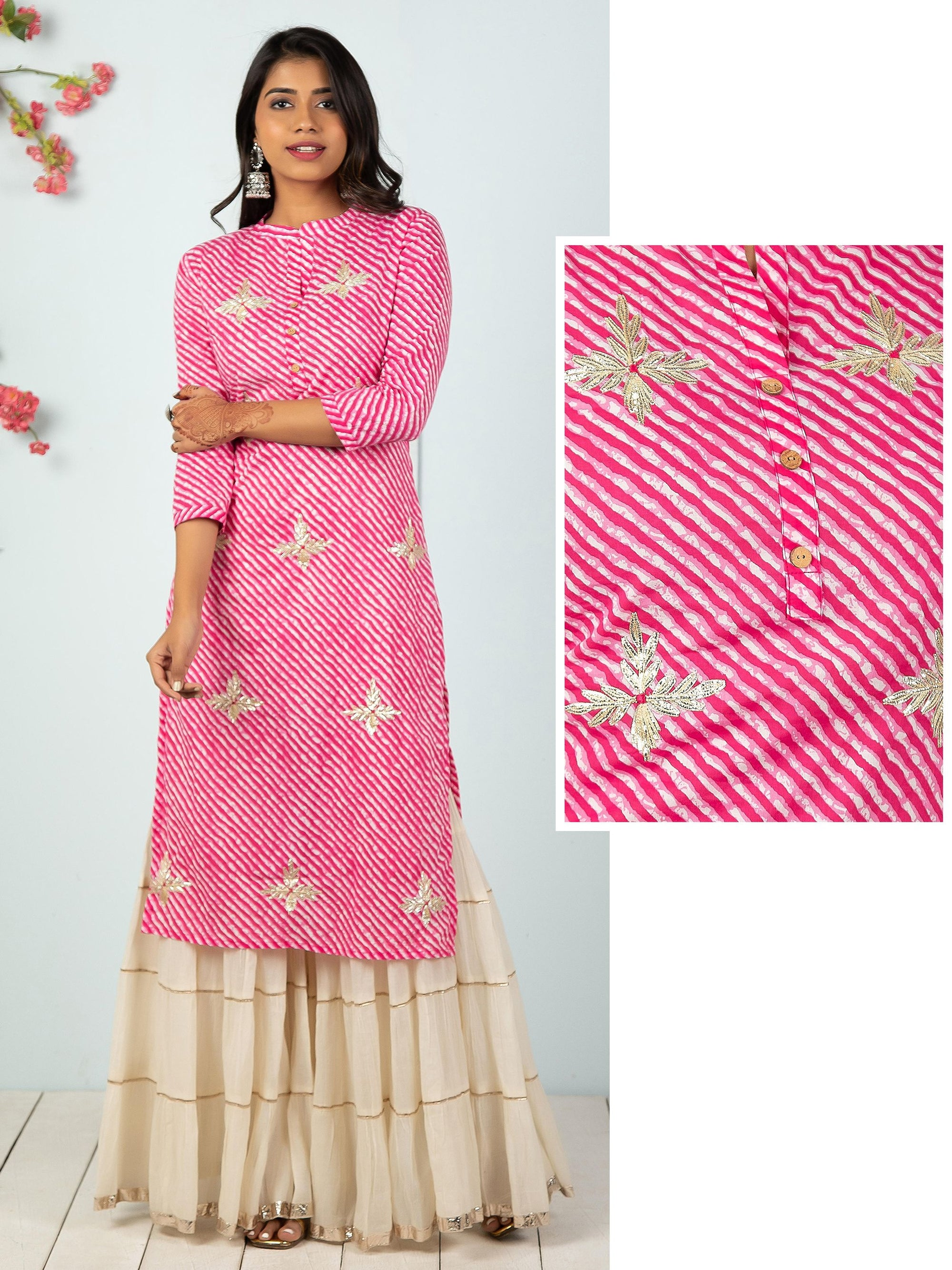Leheriya Printed With Gota Work Floral Kurta - Pink