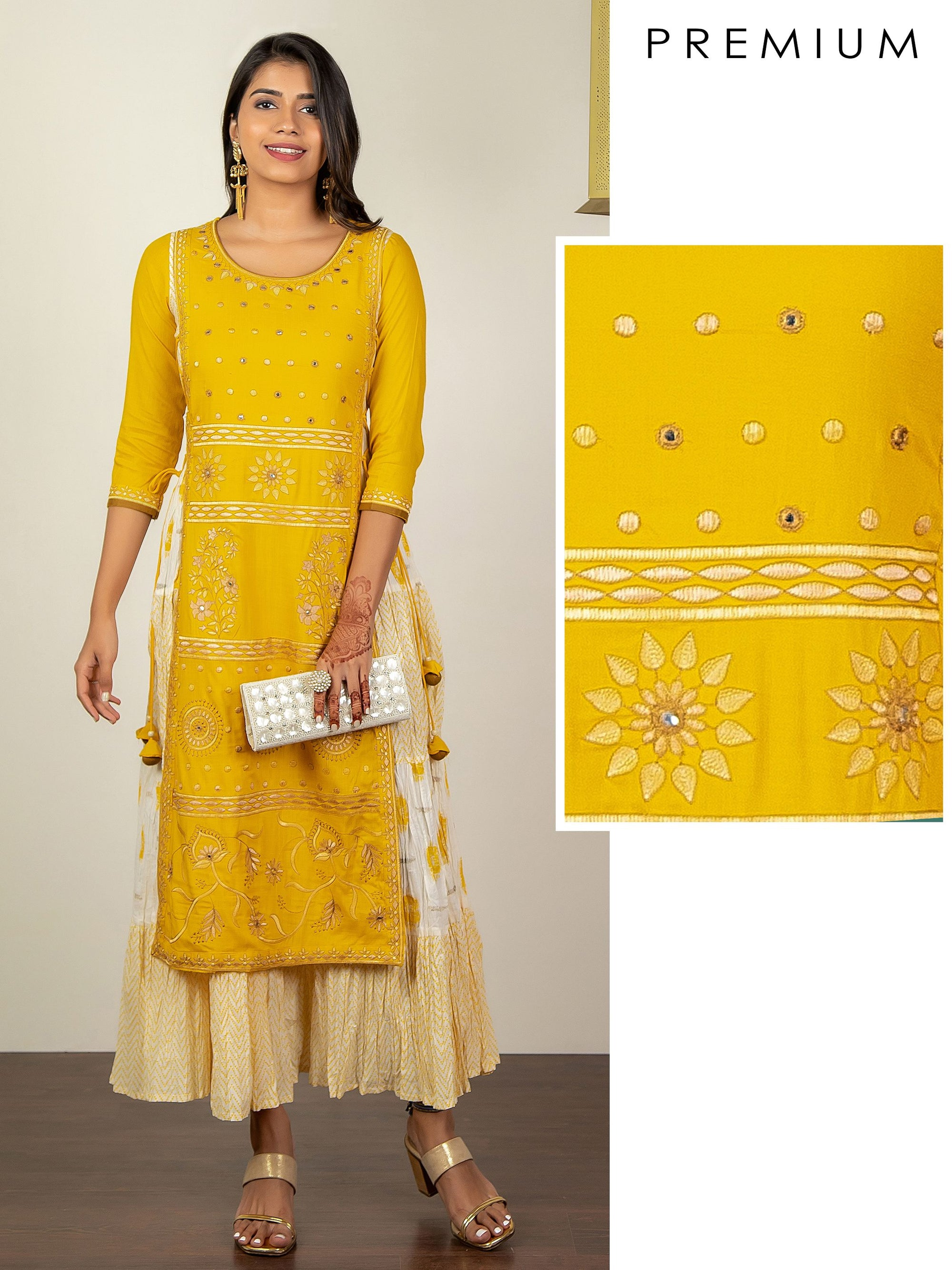 Floral Embroidery With Mirror Work And Crushed Overlay Kurta - Yellow