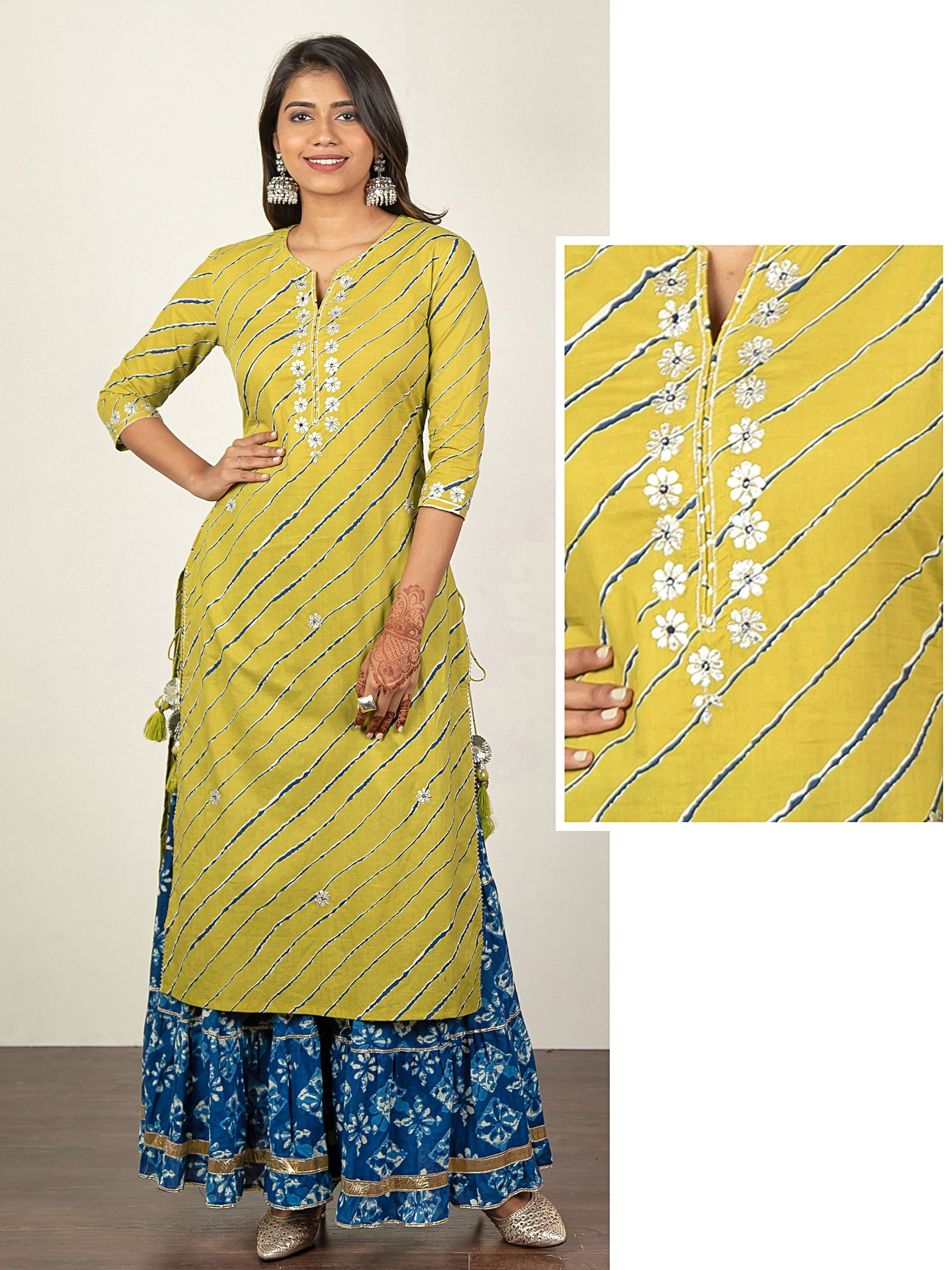 Zari Embroidered Lehariya Printed Kurti