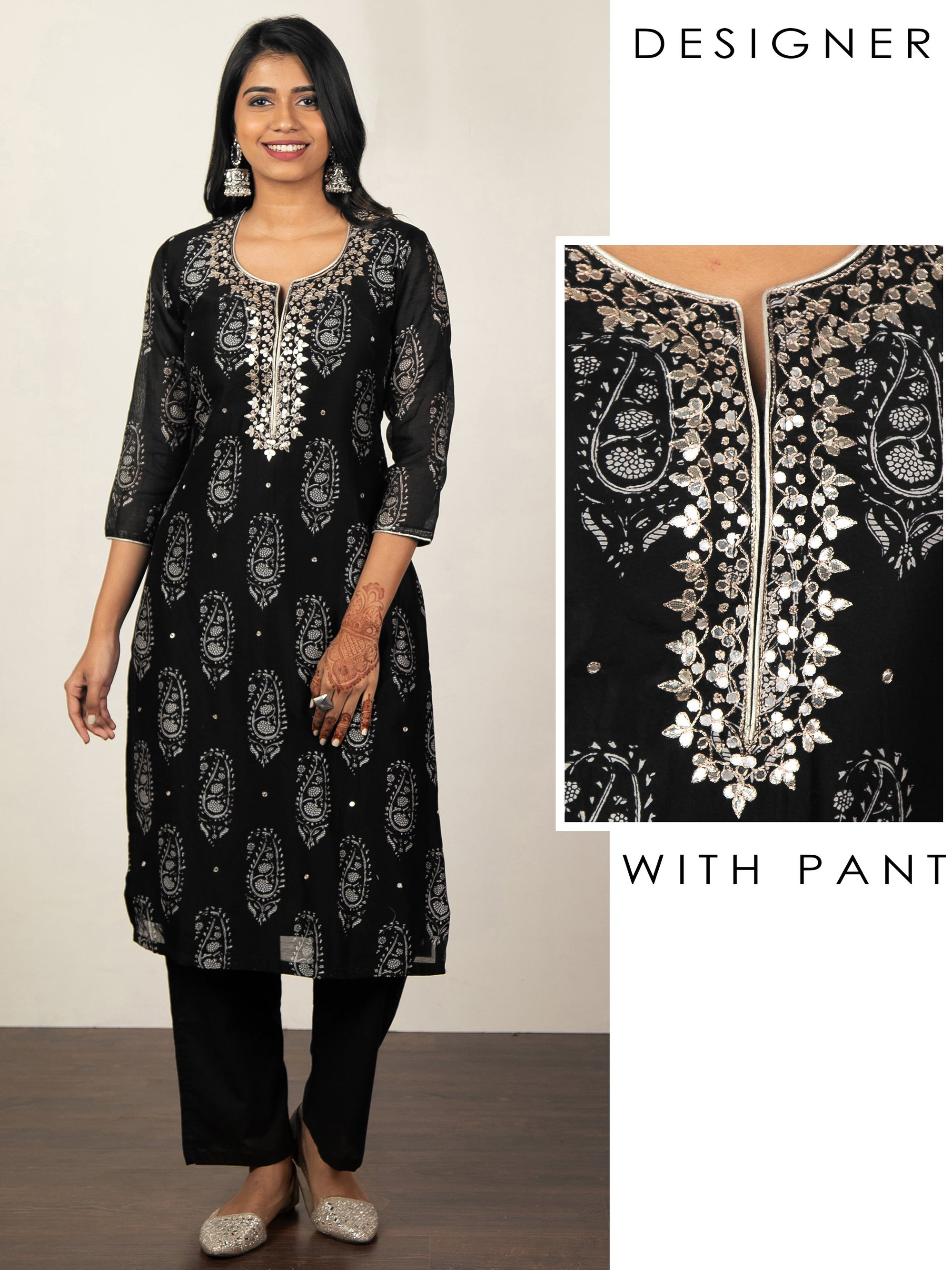 Mango Printed Kurti with Solid Pant Set - Black