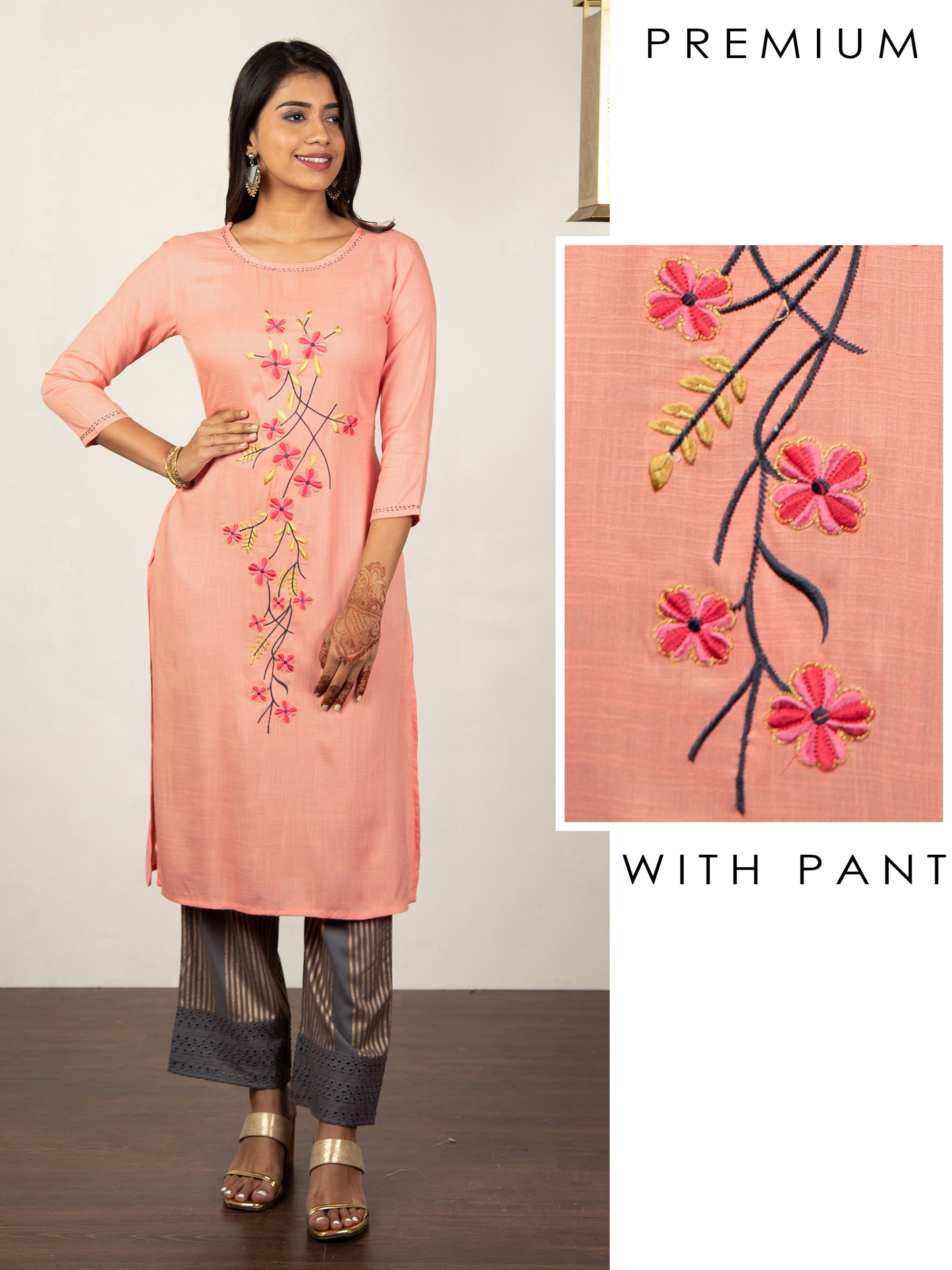 Floral Machine Embroidered Kurti & Hakoba Pant Set
