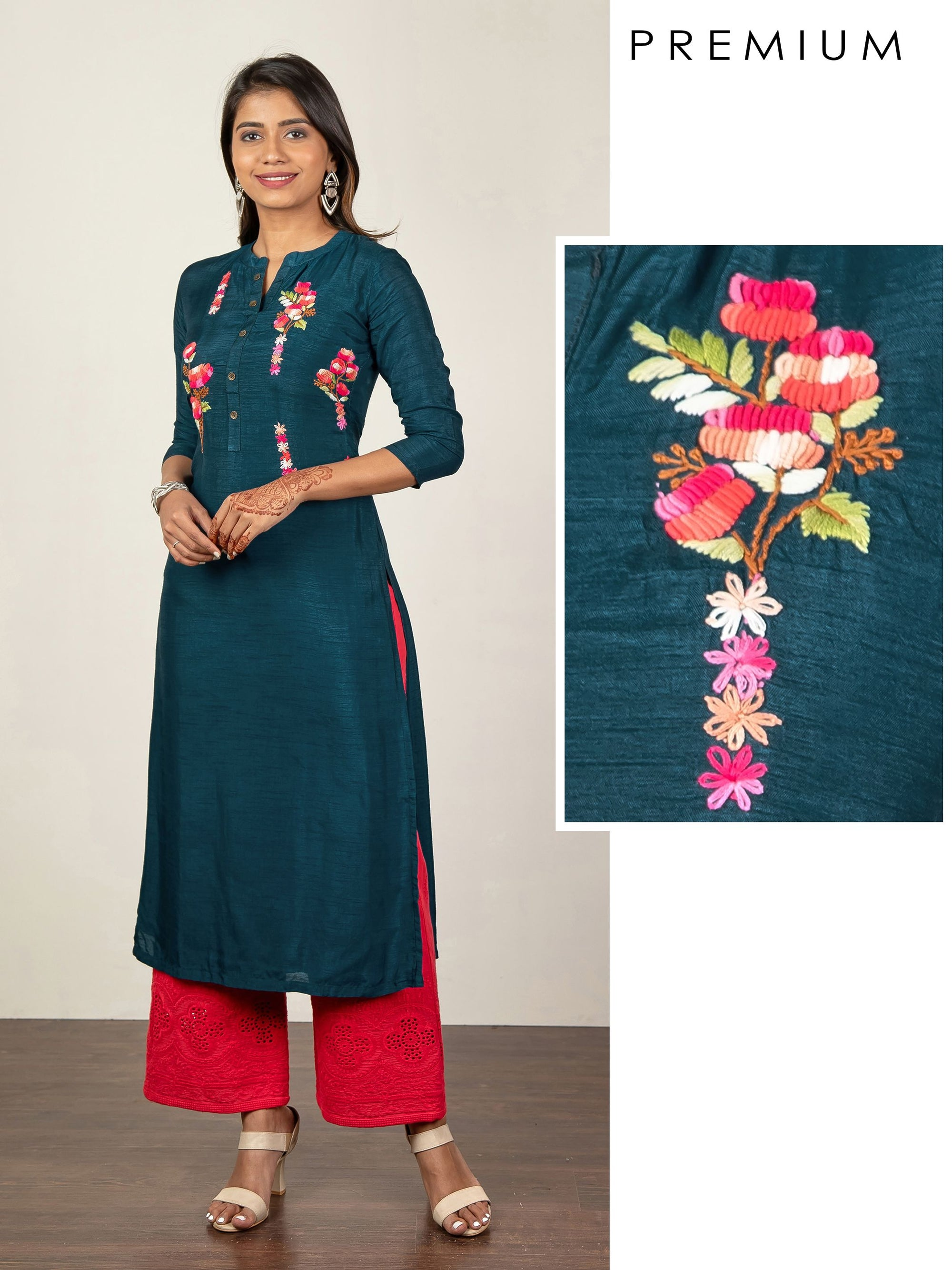 Bullion Knot Floral Embroidered Raw Silk Kurti