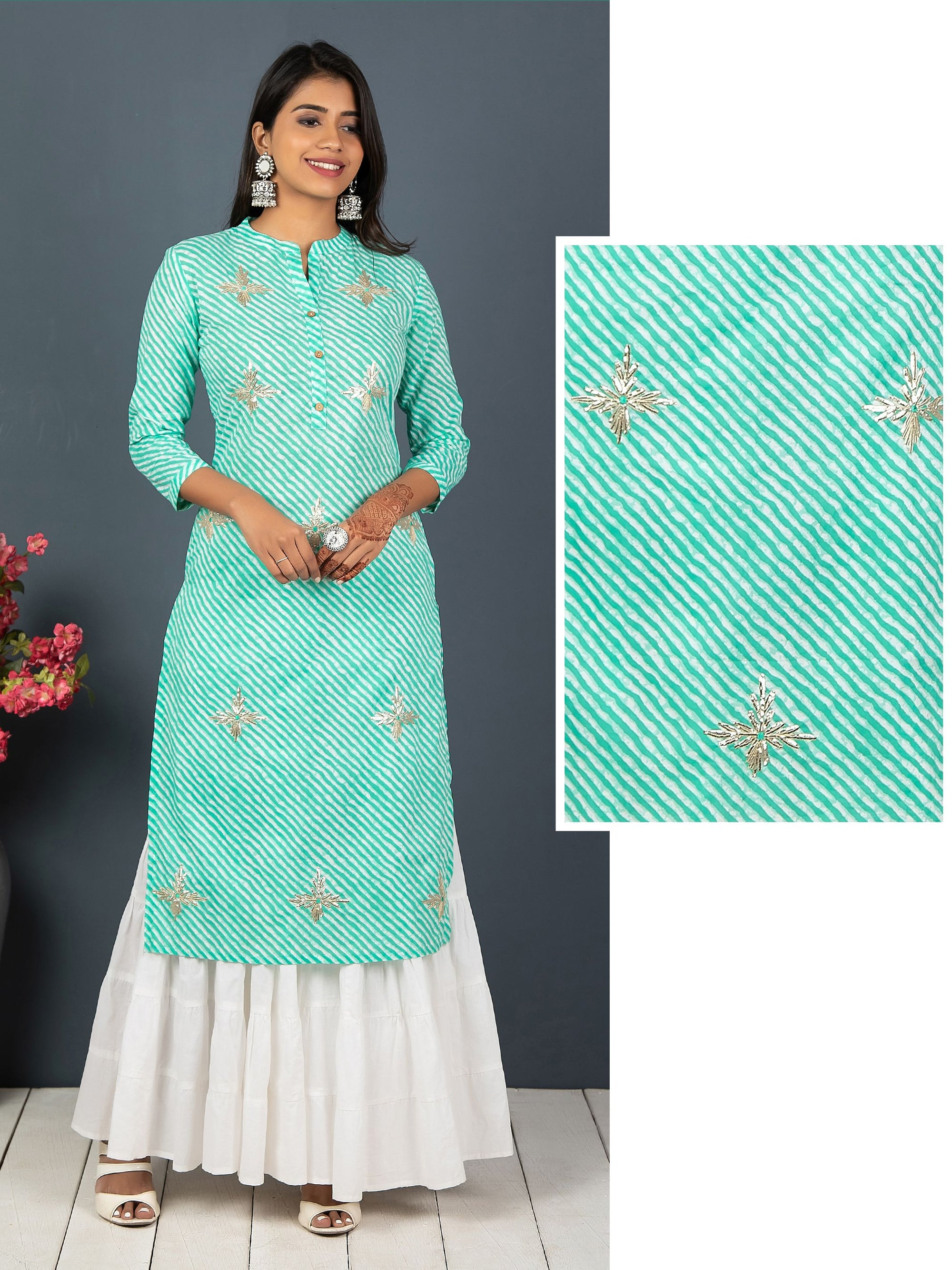 Leheriya Printed With Gota Work Floral Kurta - Green