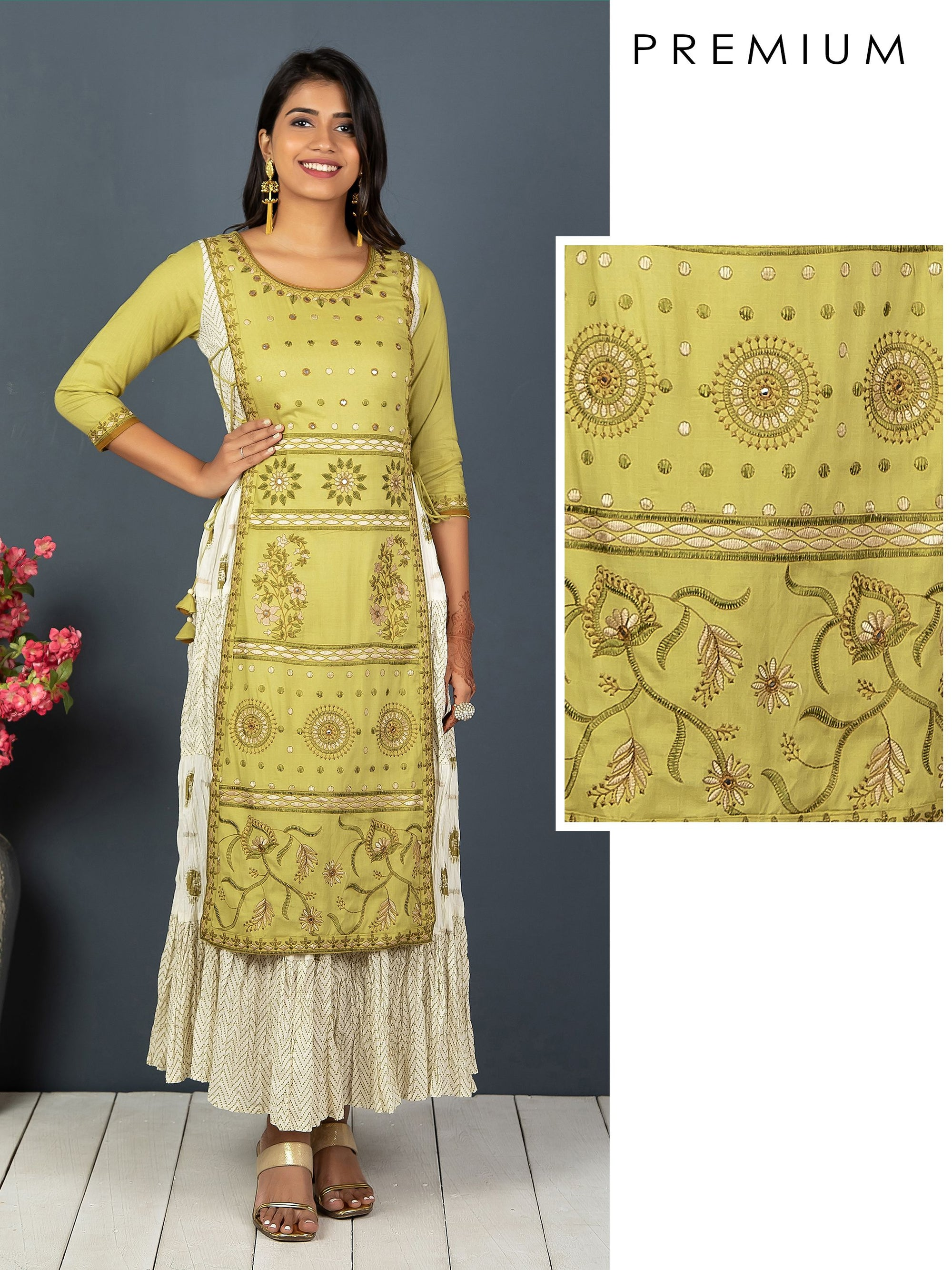 Floral Embroidery With Mirror Work And Crushed Overlay Kurta