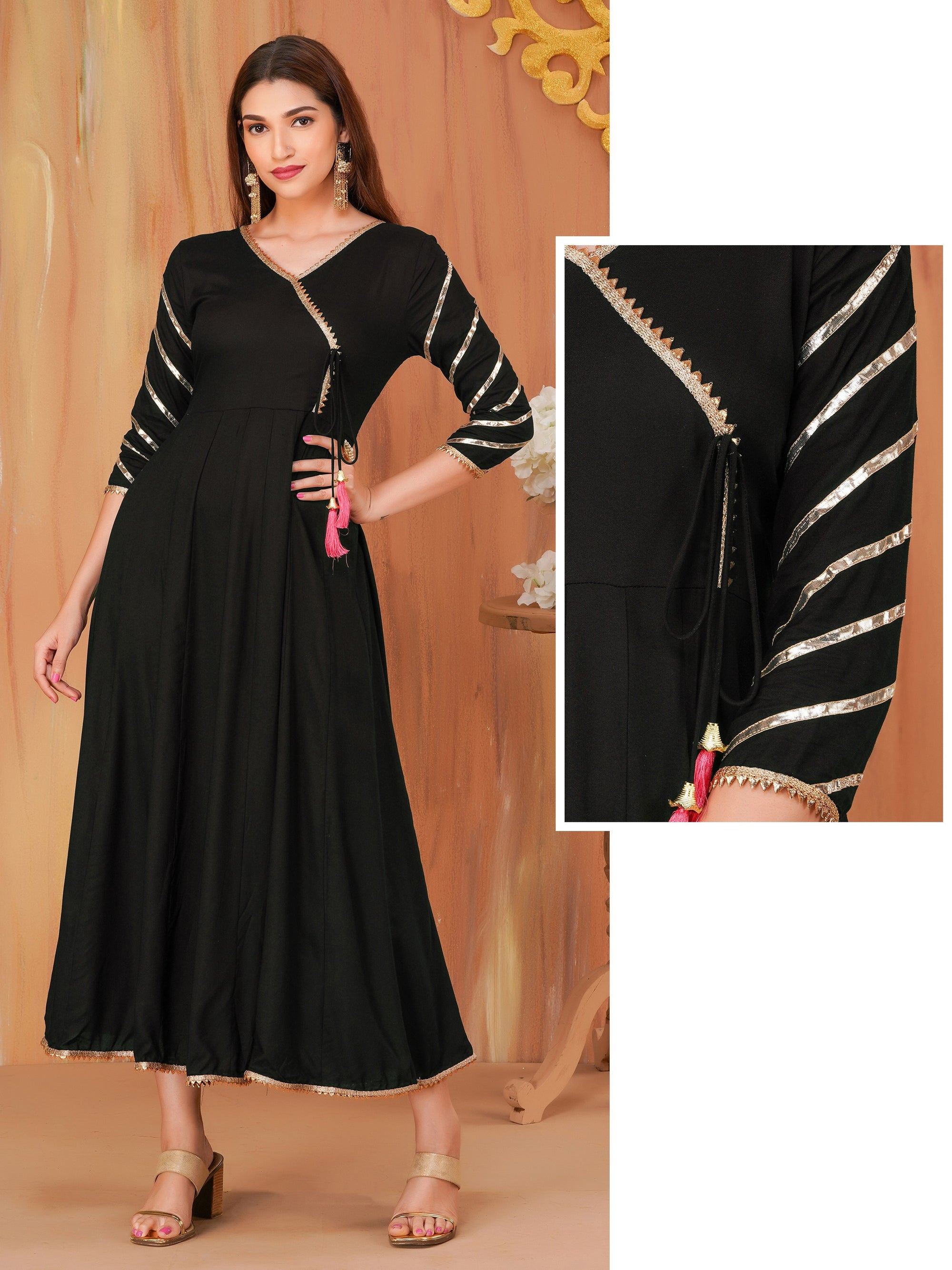 Temple Gota Lace Enhanced Angrakha Maxi – Black