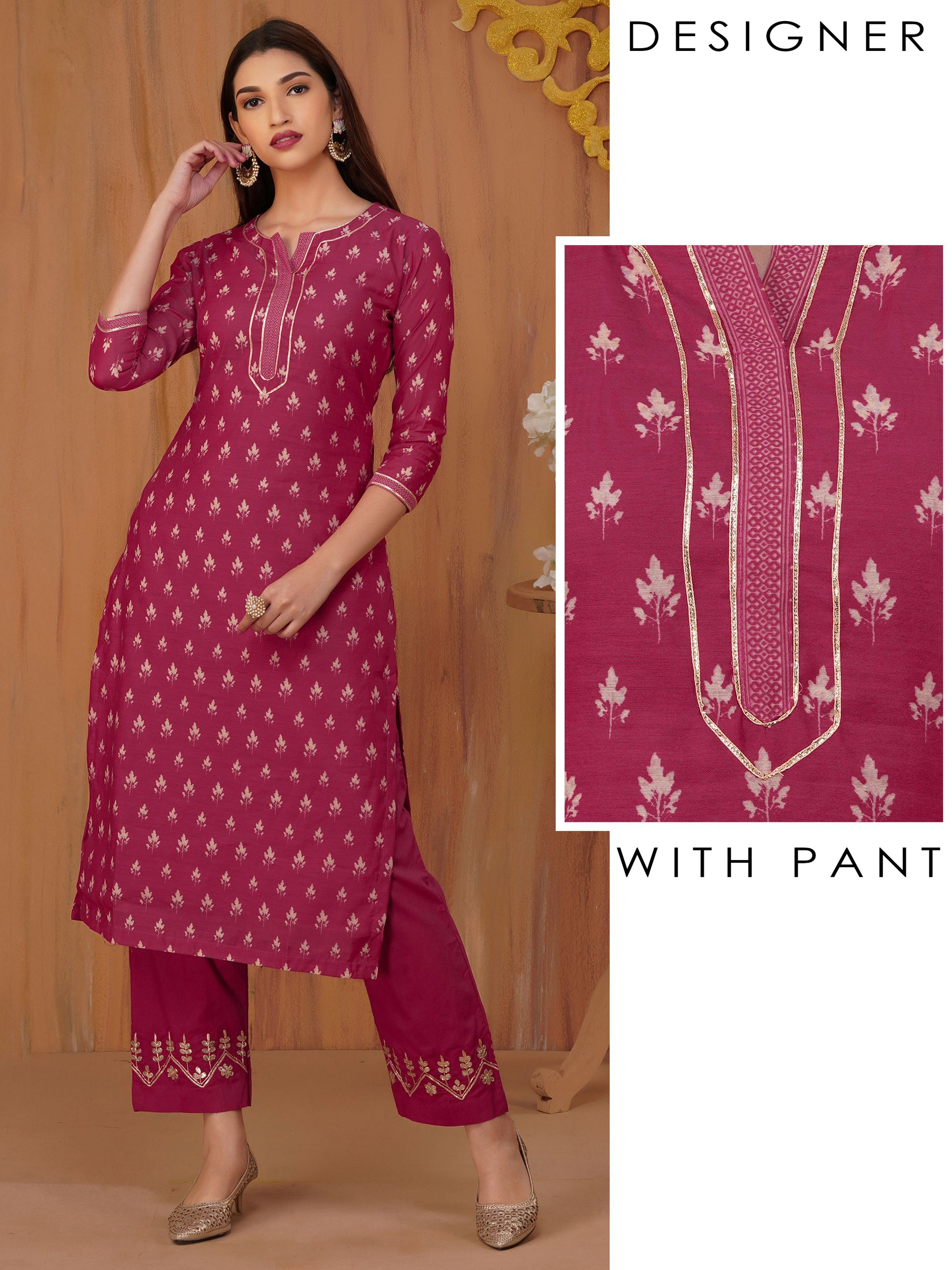 Floral Printed Kurti with Gota Pant Set - Dark Pink