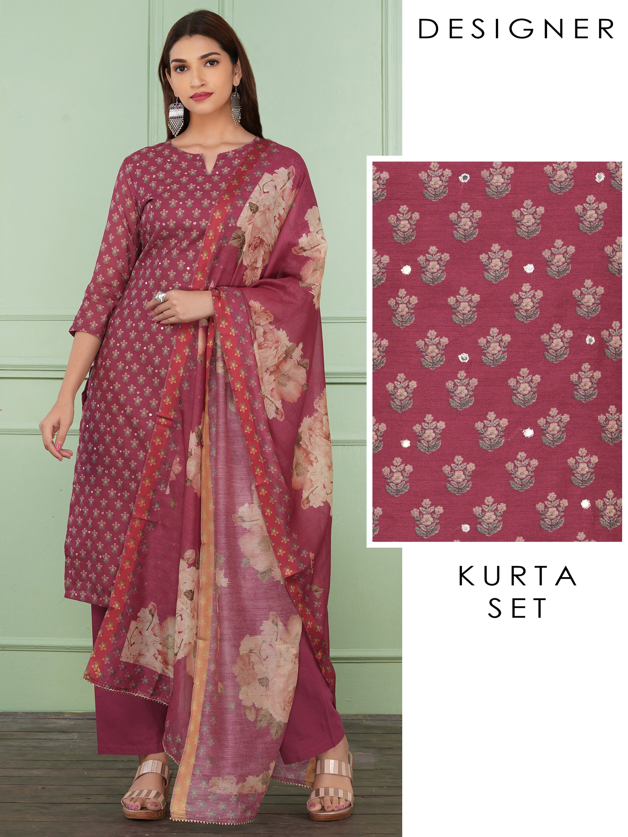 Pretty Floral Printed Kurta, Monotone Pant And Floral Dupatta Set - Pink Peacock