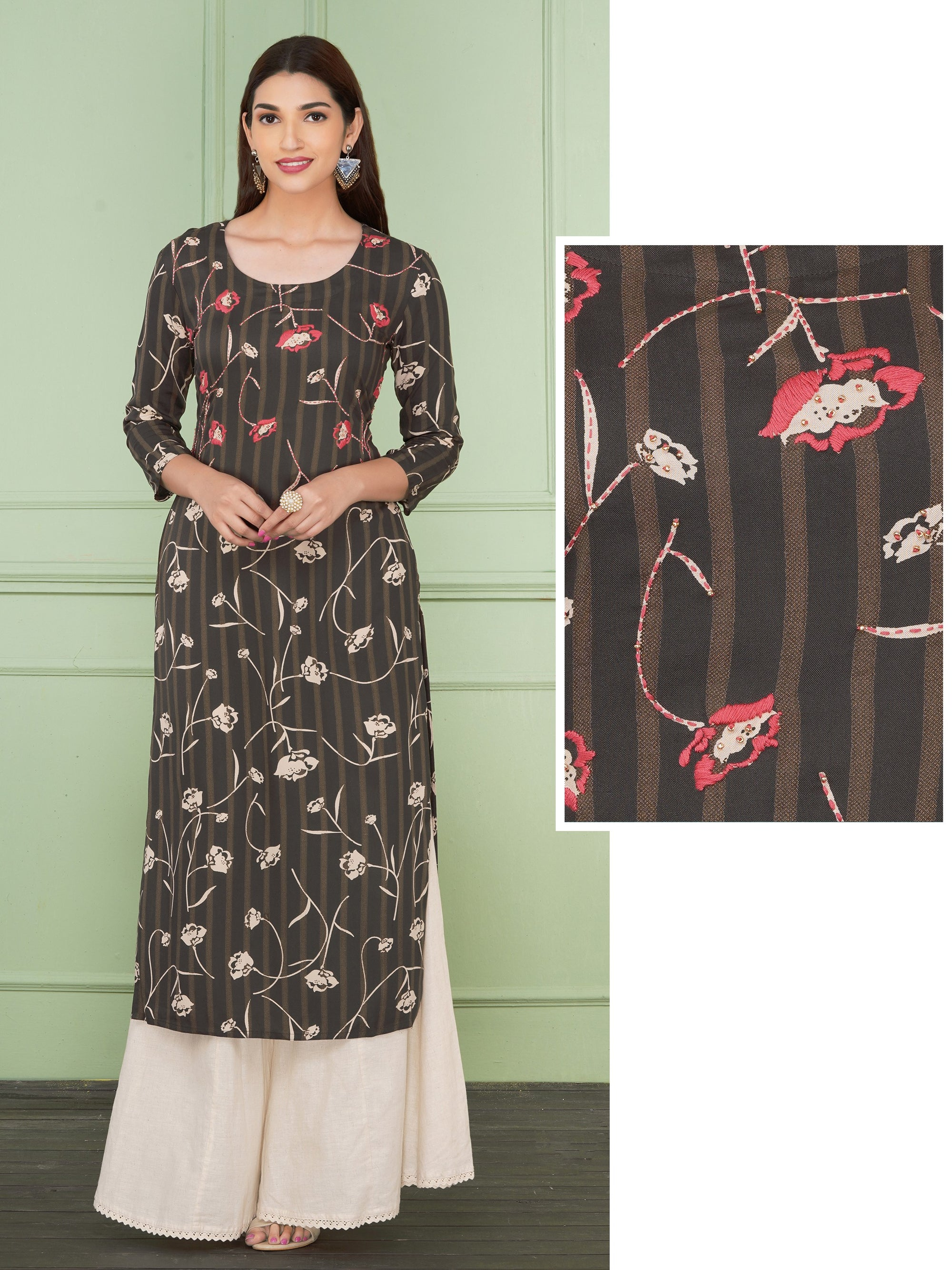 Floral Embroidery And Printed Kurta  - Grey