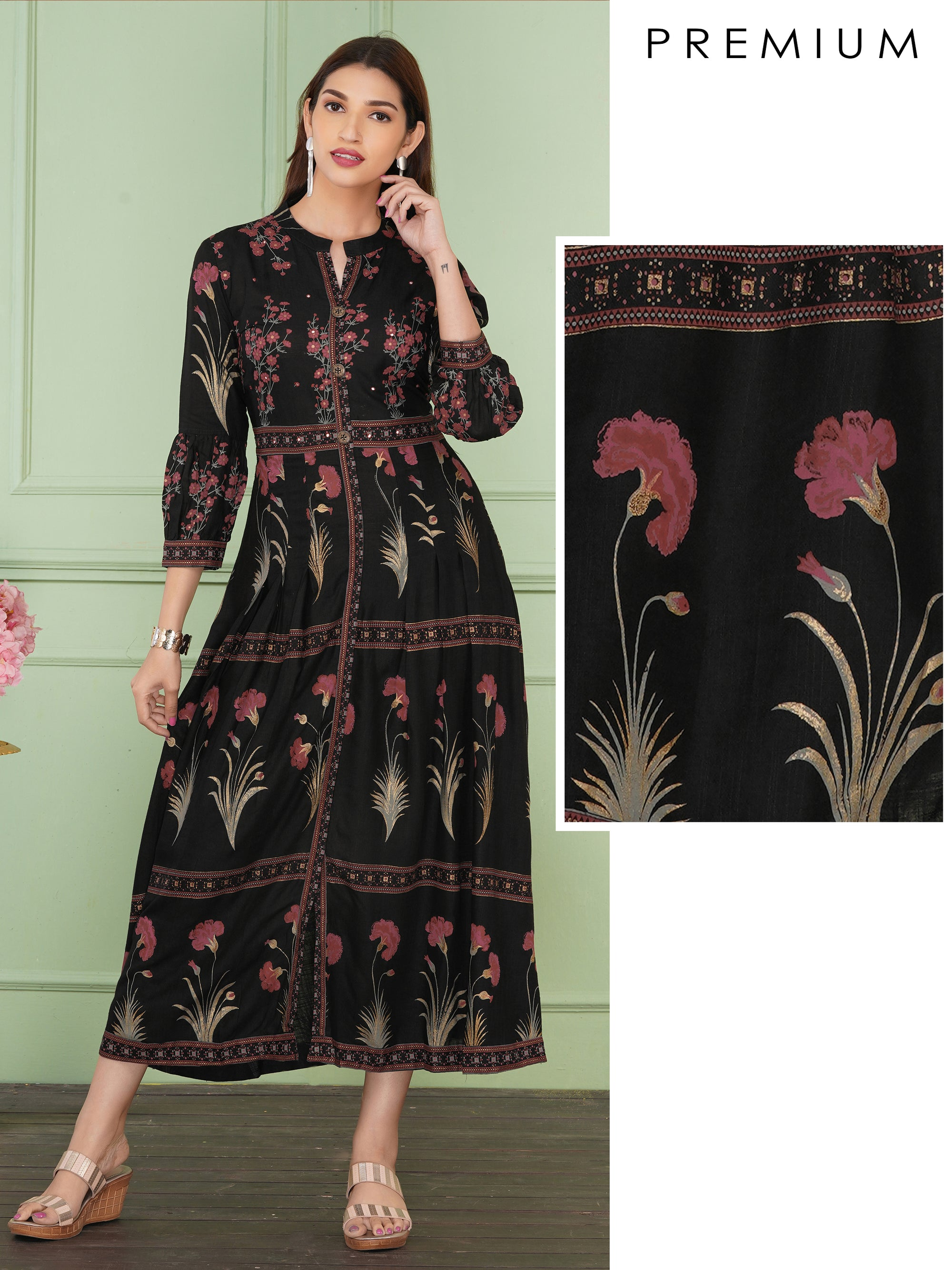 Beautiful Gold Highlighted Florals And Geometric Print Detail Maxi - Black