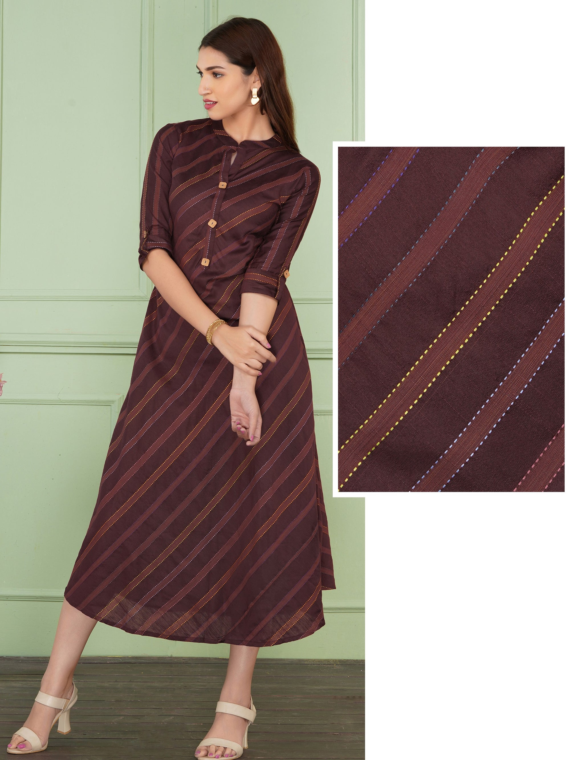 Running Stitch And Cross Striped A-Line Kurta