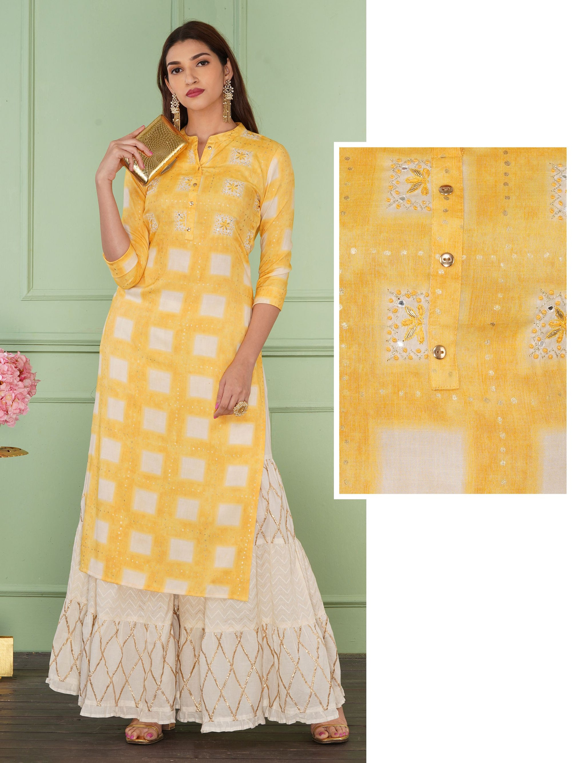 Zardosi, Chain Embroidered & Checkered Kurti - Yellow