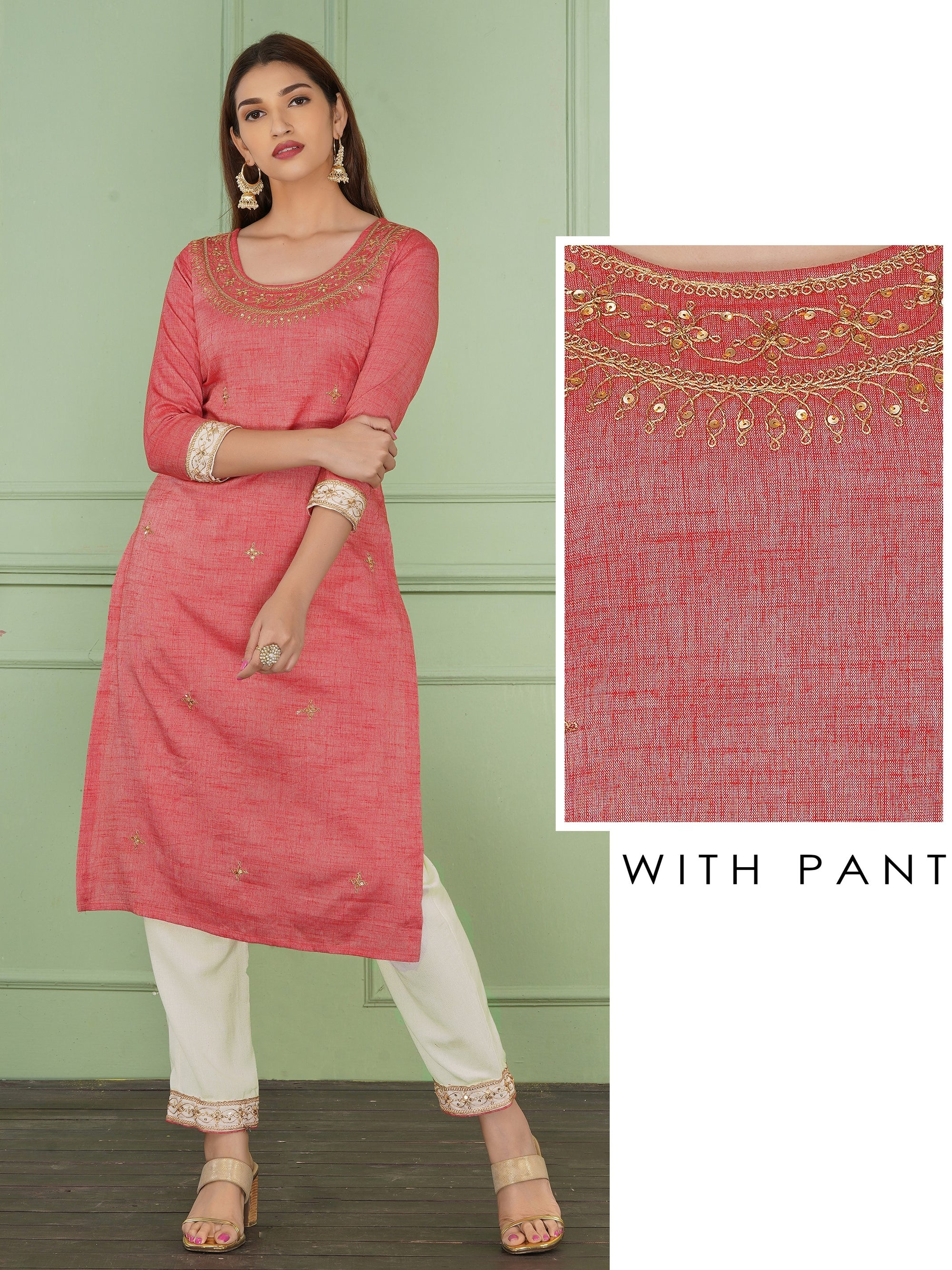 Sequins & Cord Embroidered Kurti & Pant Set