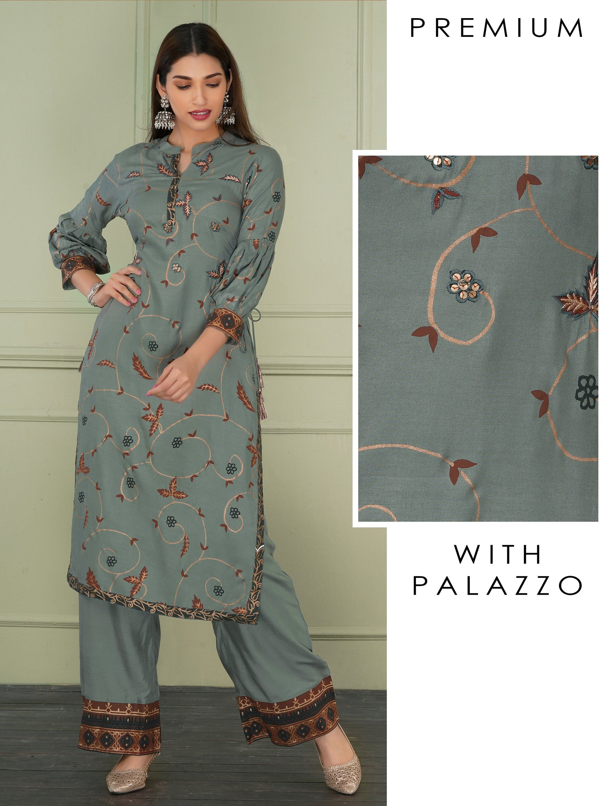 Gold Leaf highlights And Embroidered Kurta And Palazzo Set - Grey