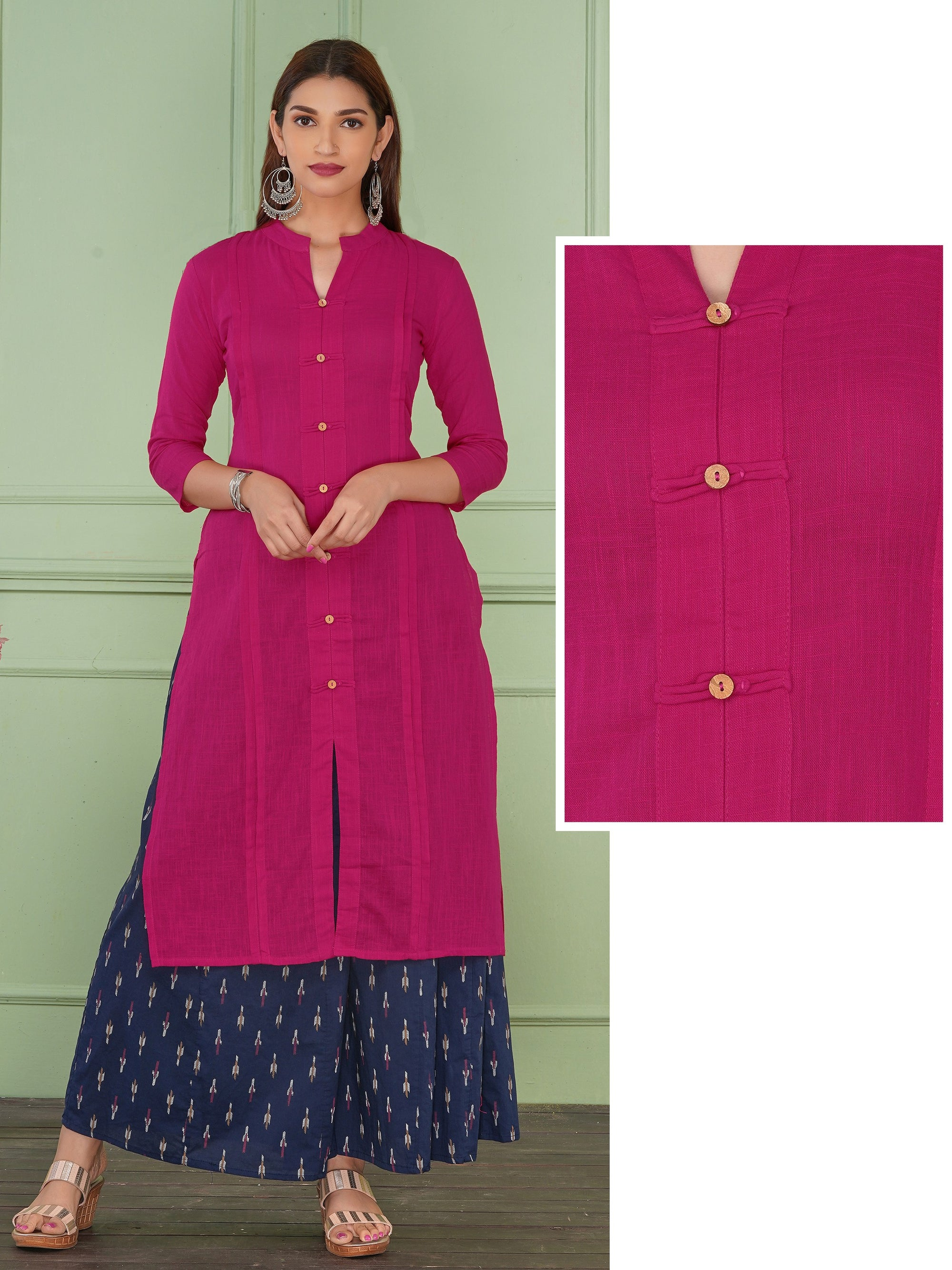 Coconut Shell Buttoned Solid Cotton Kurti - Rani Pink