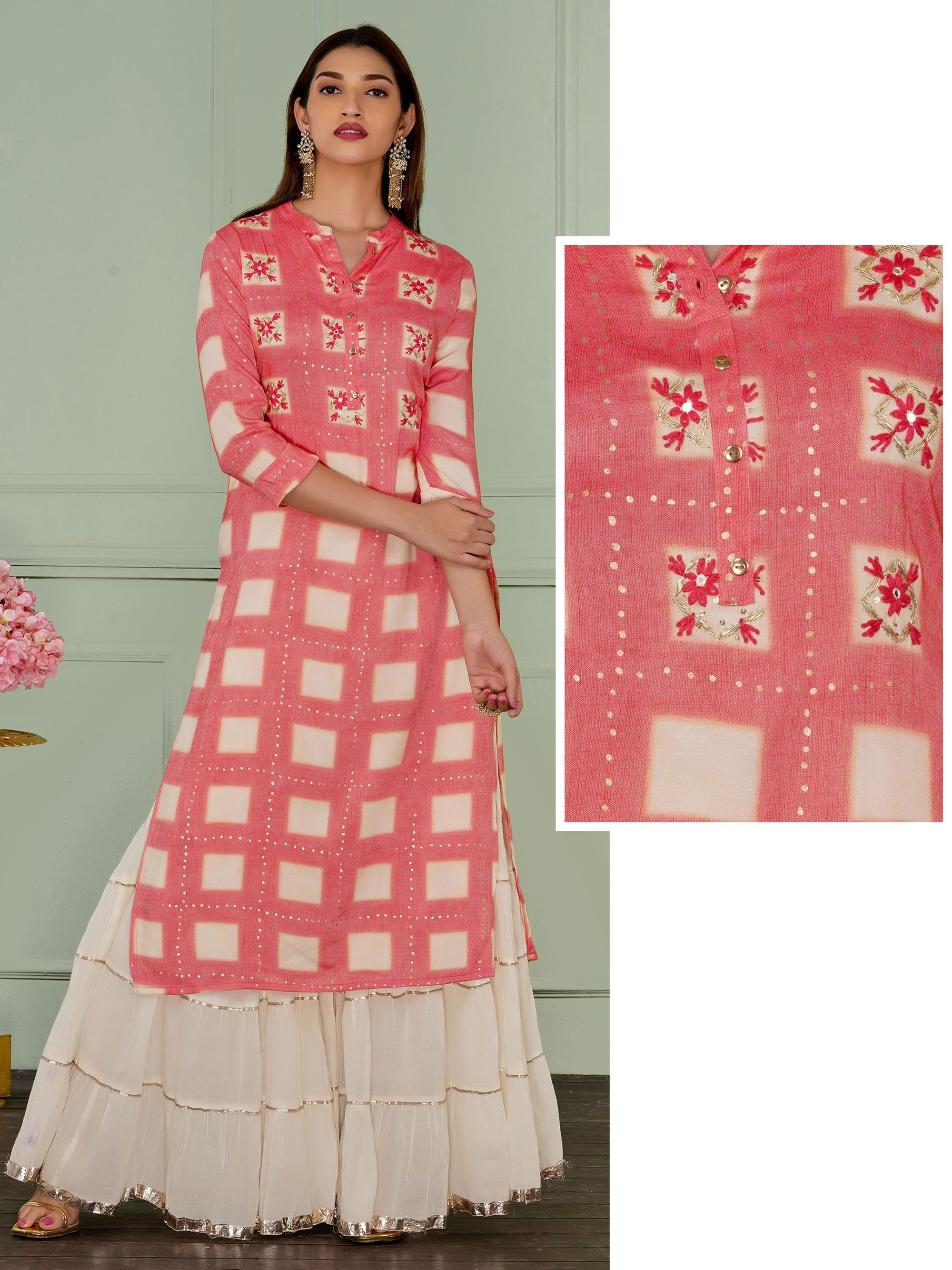 Zardosi, Chain Embroidered & Checkered Kurti