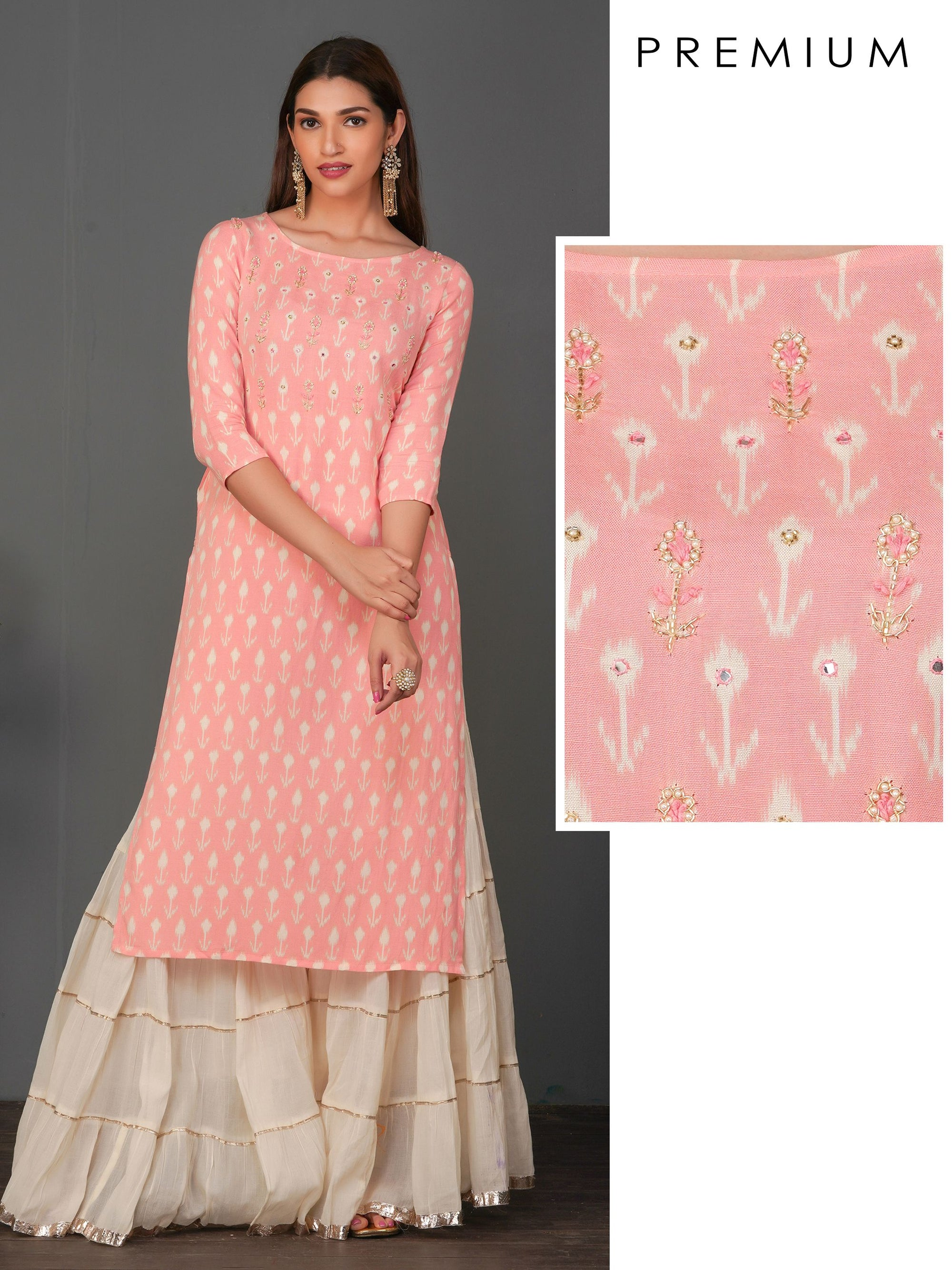 Zardosi And Pearl Work With Floral Printed Kurta