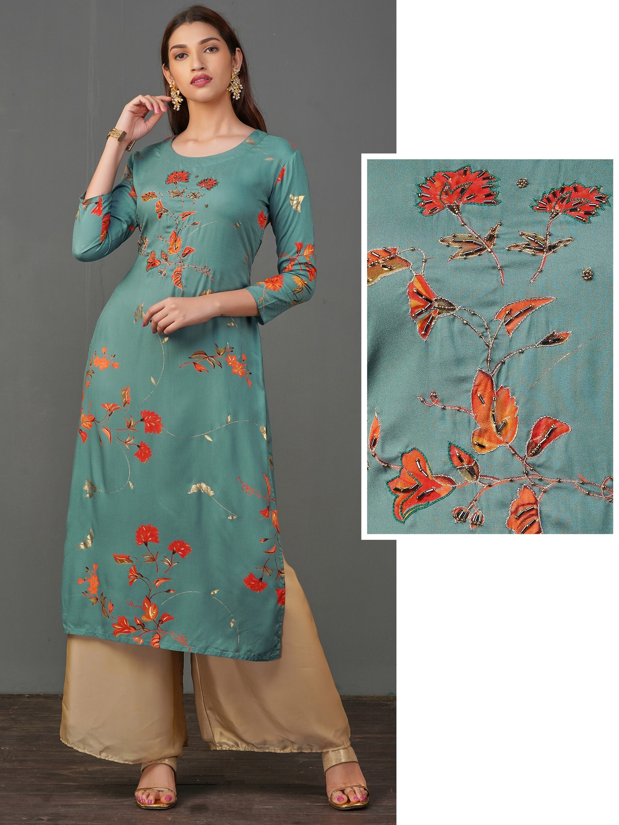 Cutdana Detailed Floral Printed Kurti