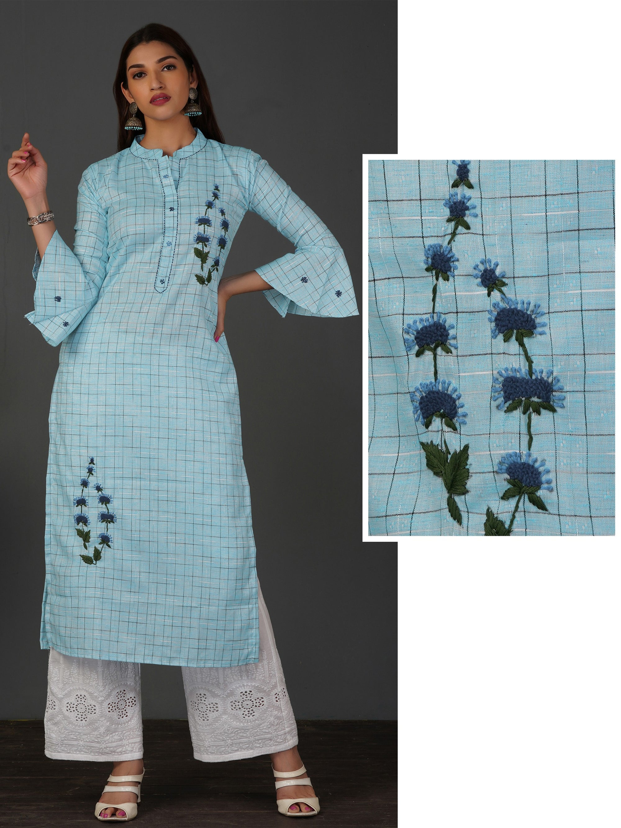 Floral Thread Worked & Pin Checkered Kurti