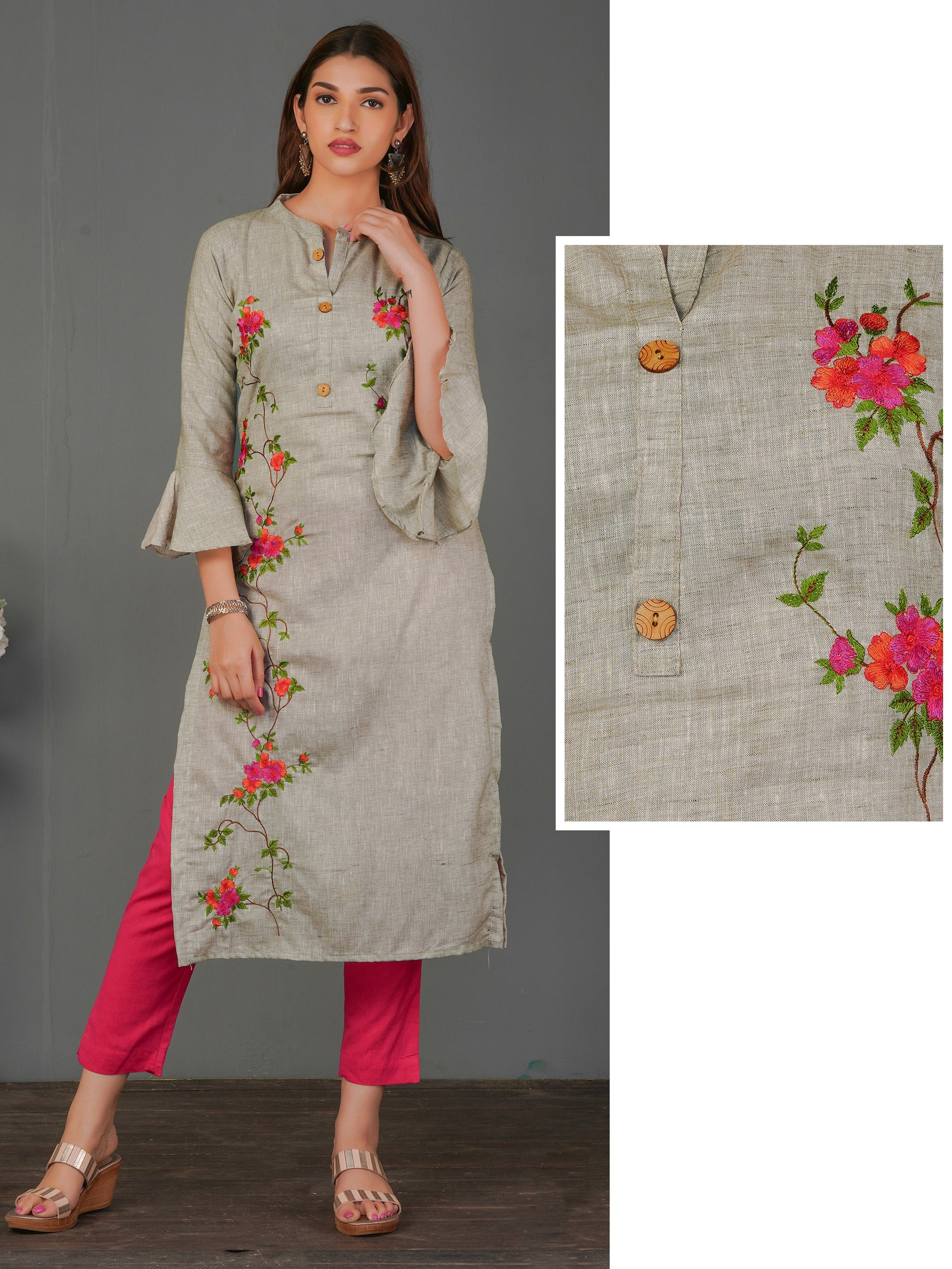 Vibrant Floral Embroidered Cotton Kurti