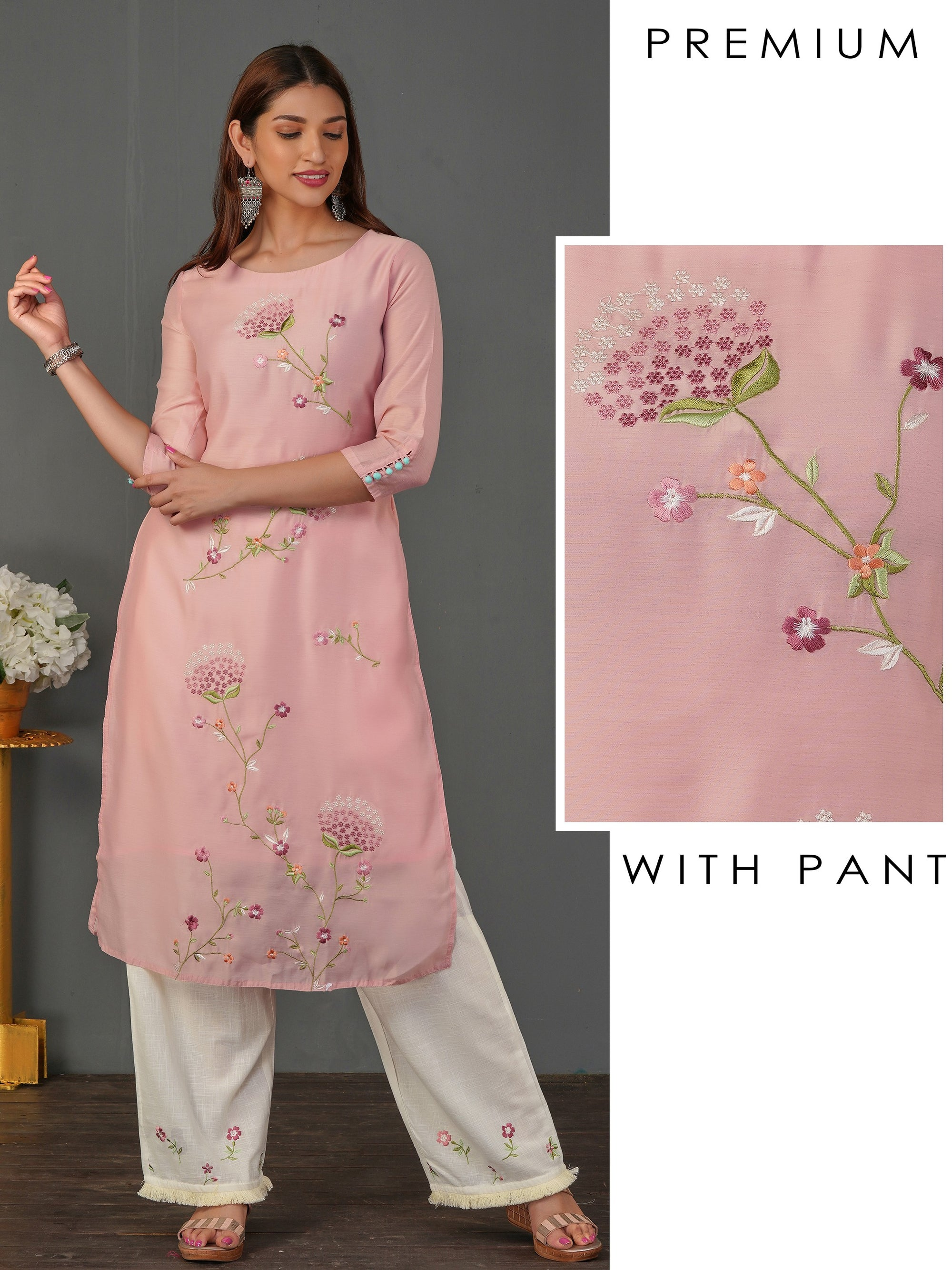 Elegant Floral Embroidered Kurti & Palazzo Set